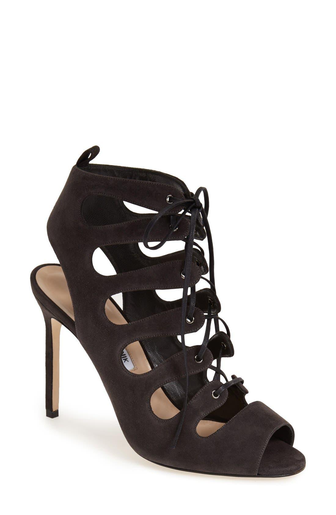 'Attal' Lace-Up Sandal,                             Main thumbnail 1, color,                             Grey