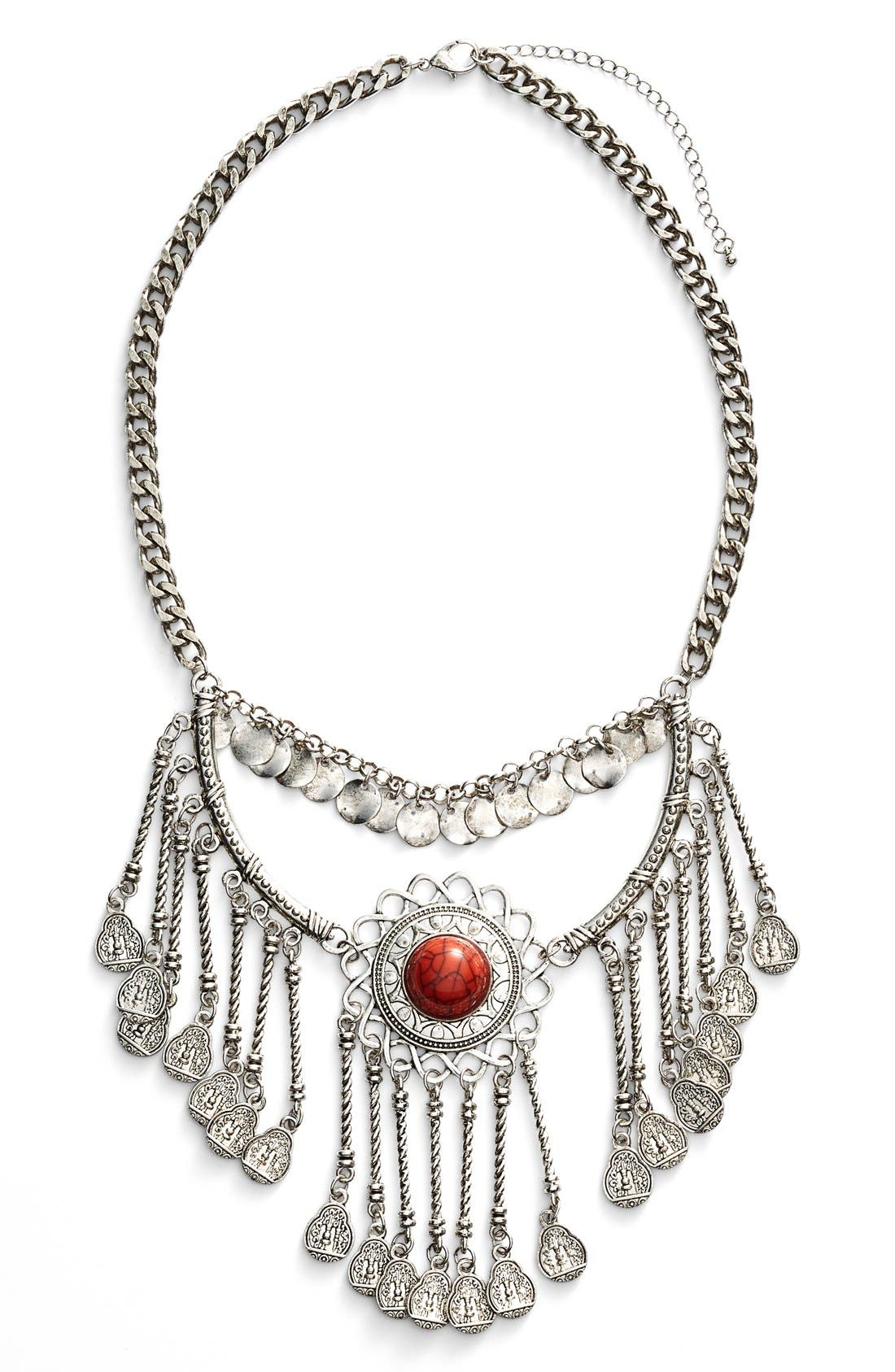 Main Image - BP. Stone & Coin Statement Necklace