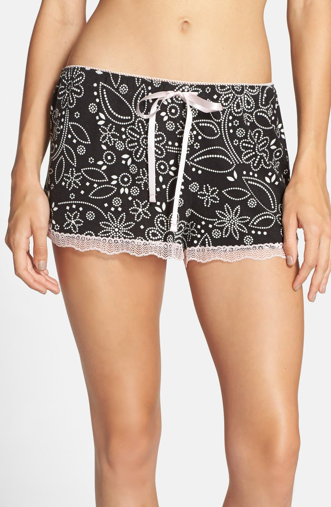 Alternate Image 1 Selected - PJ Salvage Lace Trim Print Lounge Shorts