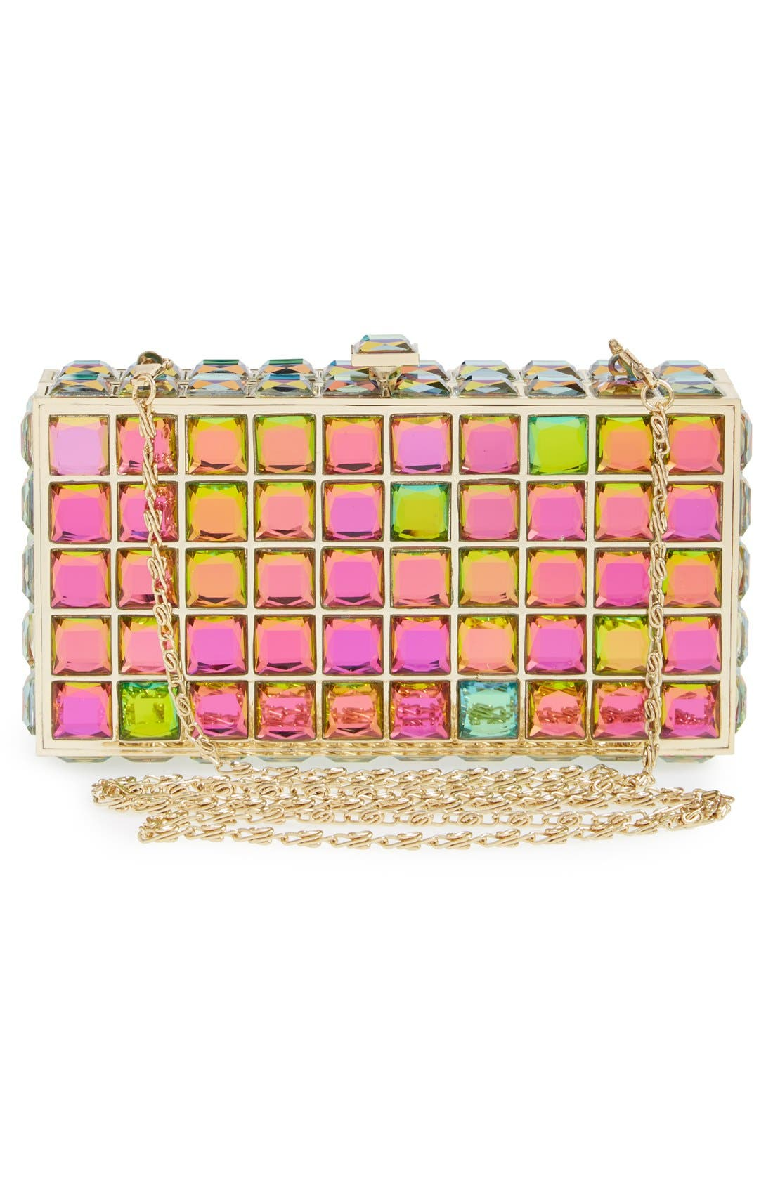 Natasha Couture Box Clutch,                             Alternate thumbnail 3, color,                             Iridescent