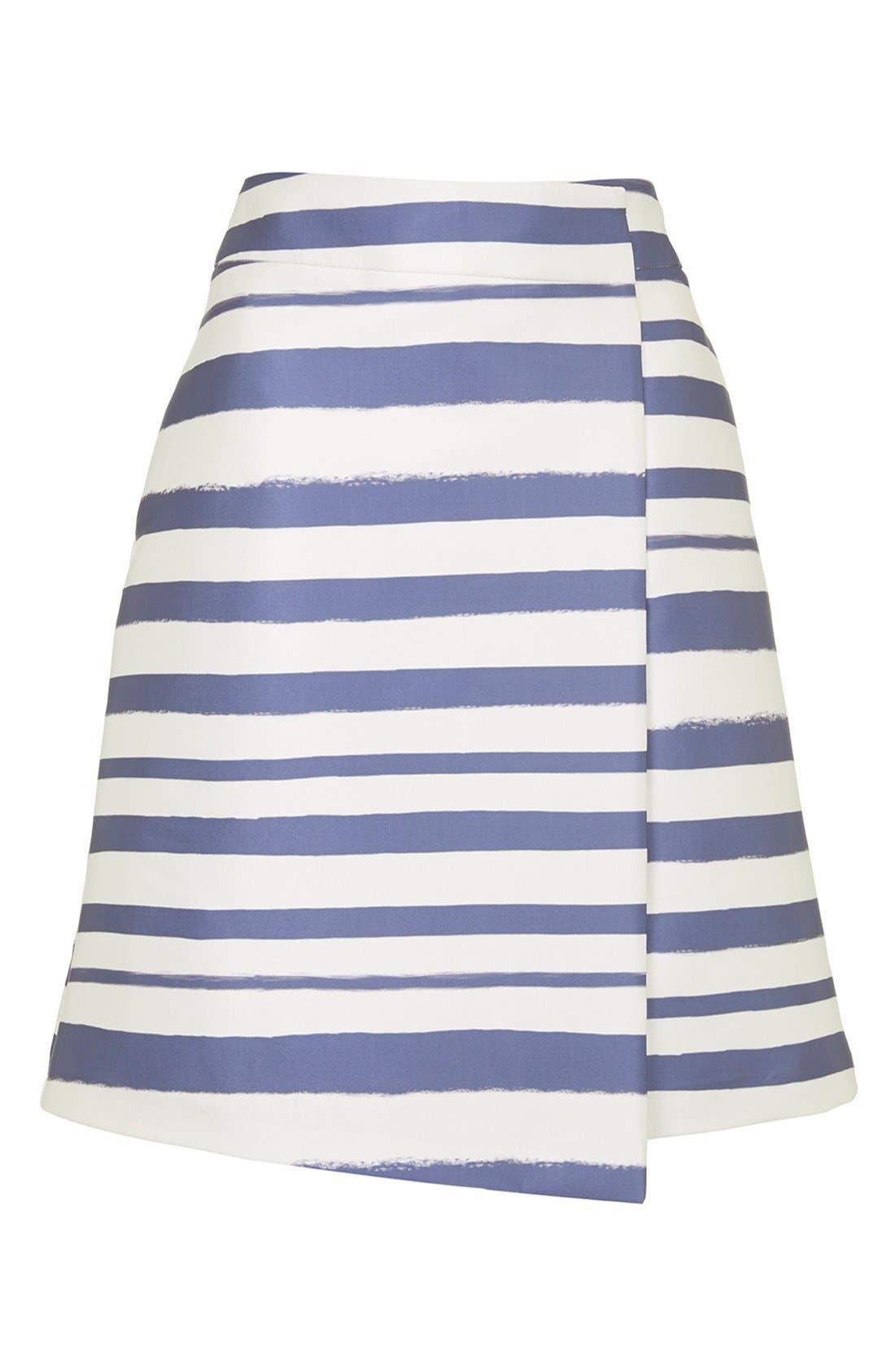 Stripe Midi Skirt,                             Alternate thumbnail 4, color,                             Navy Blue Multi