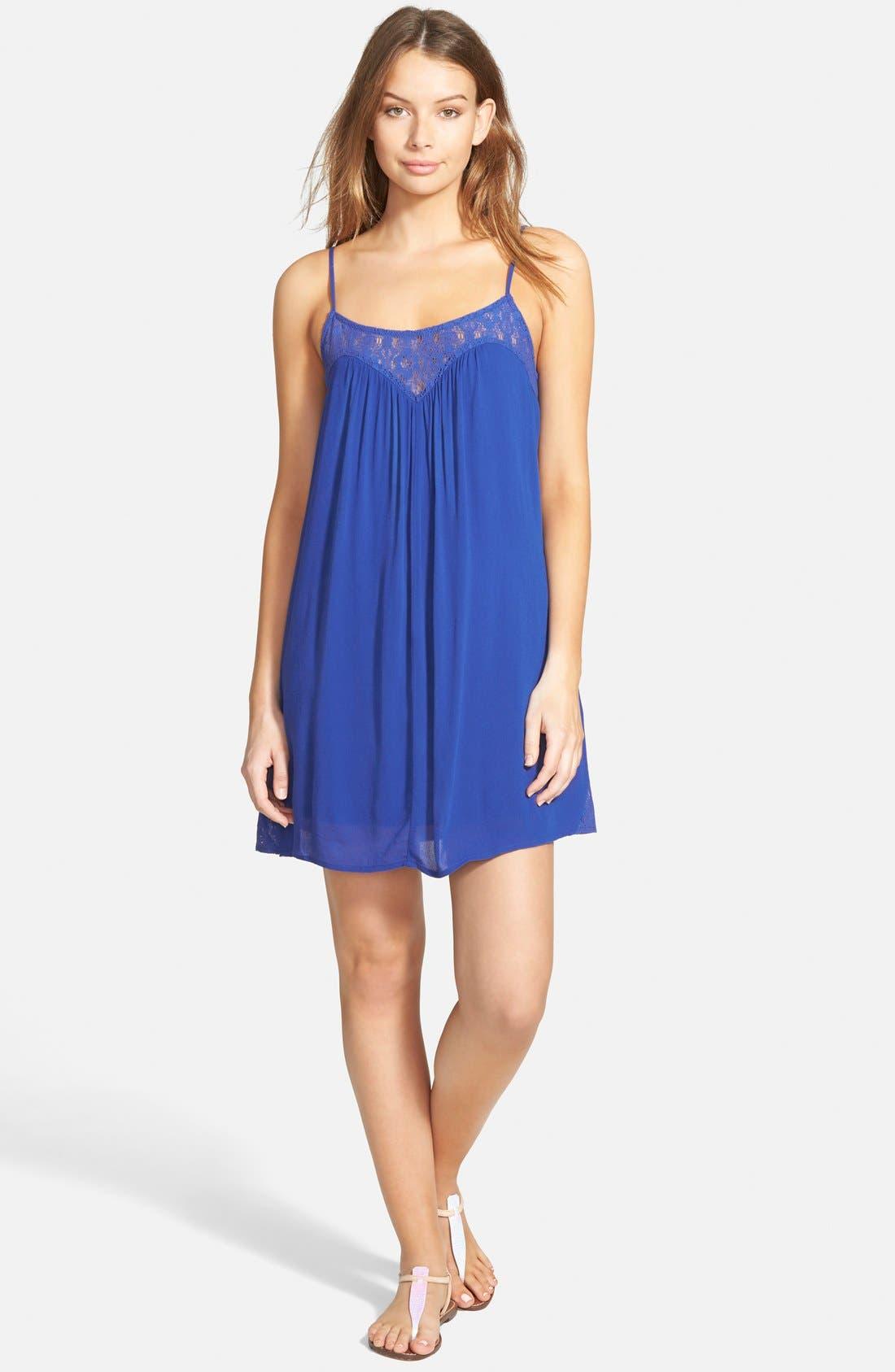 Crochet Inset Trapeze Dress,                         Main,                         color, Cobalt