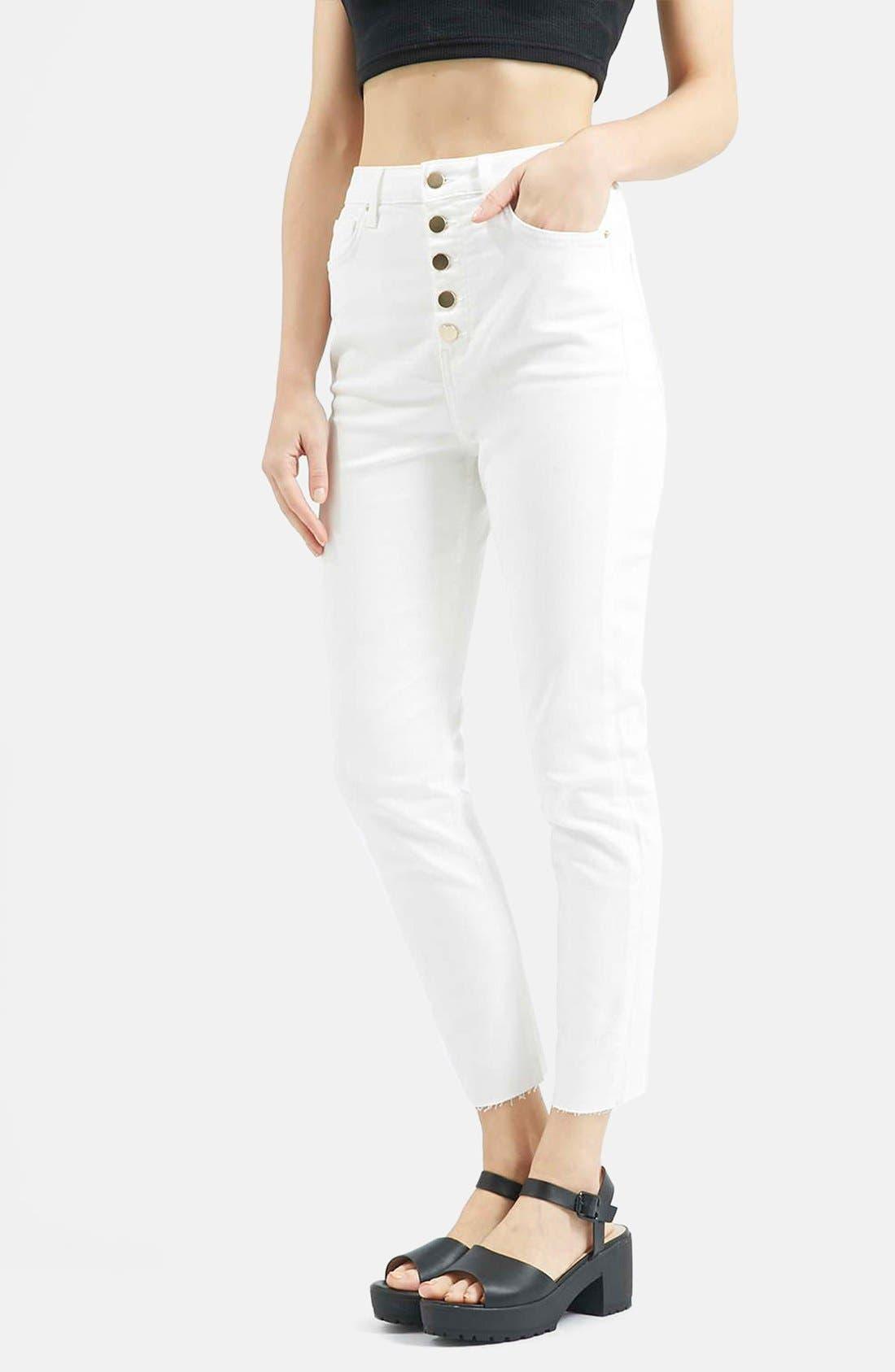 Main Image - Topshop Moto 'Binx' Button Front Slim Jeans (White)