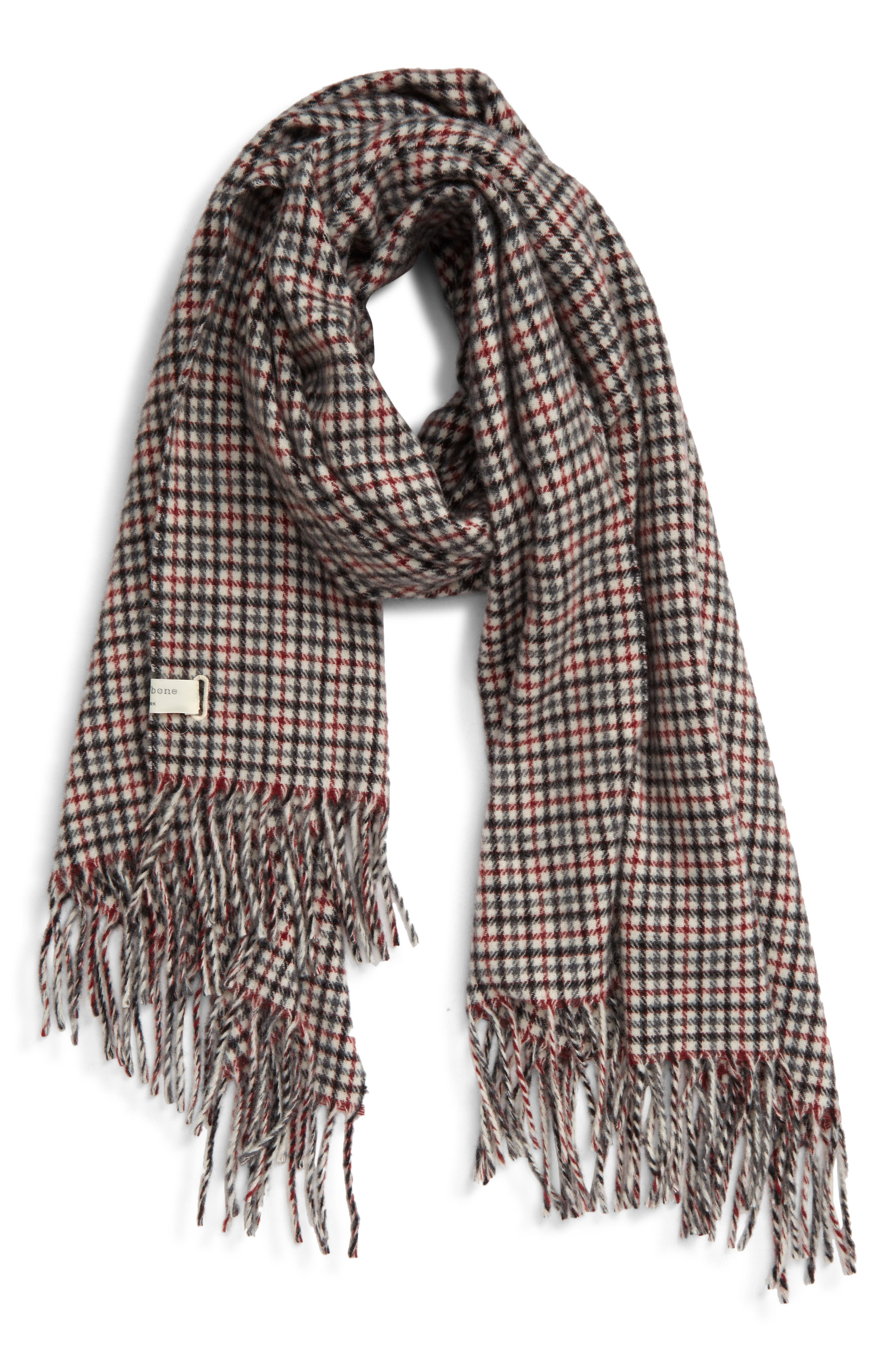 Winter Long Scarf Wrap Thick Weight Mustard Blue Grey Check Pattern Gift