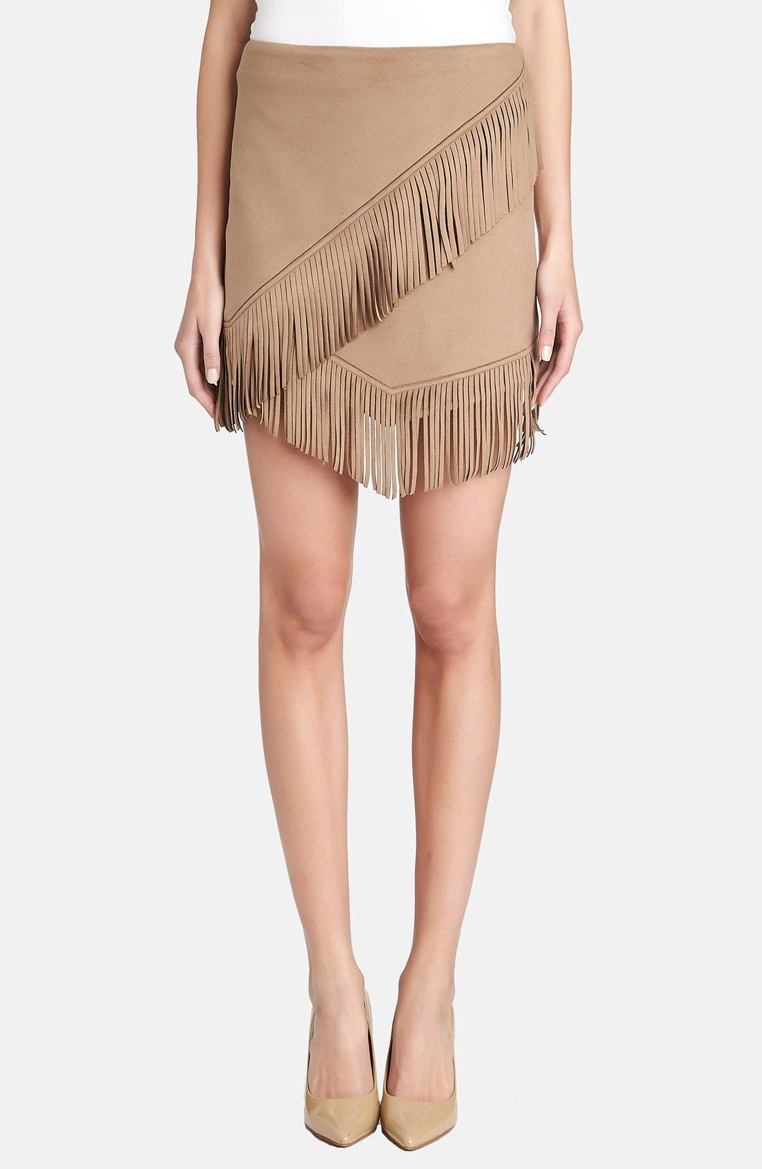 Main Image - 1.STATE Fringe Trim Faux Suede Wrap Skirt