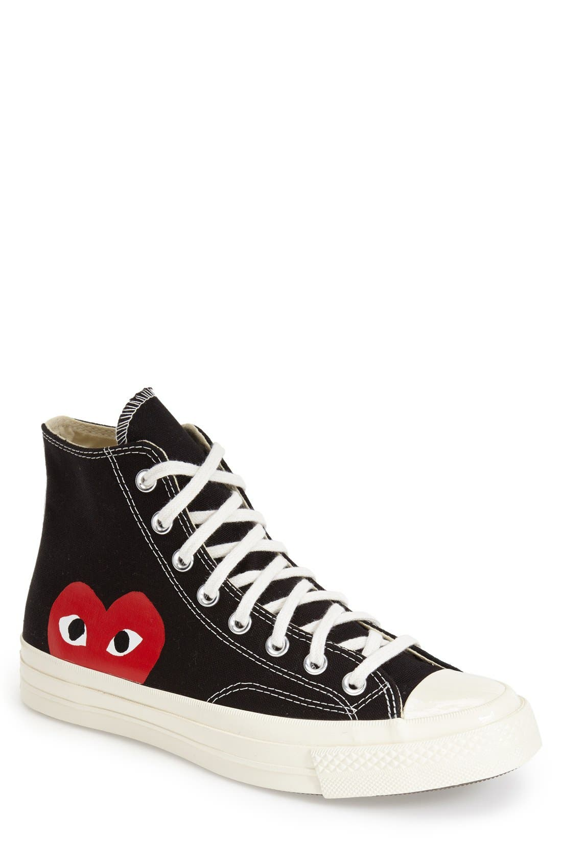 Comme des Garçons PLAY x Converse Chuck Taylor<sup>®</sup> - Hidden Heart High Top Sneaker,                             Main thumbnail 1, color,                             Black Canvas