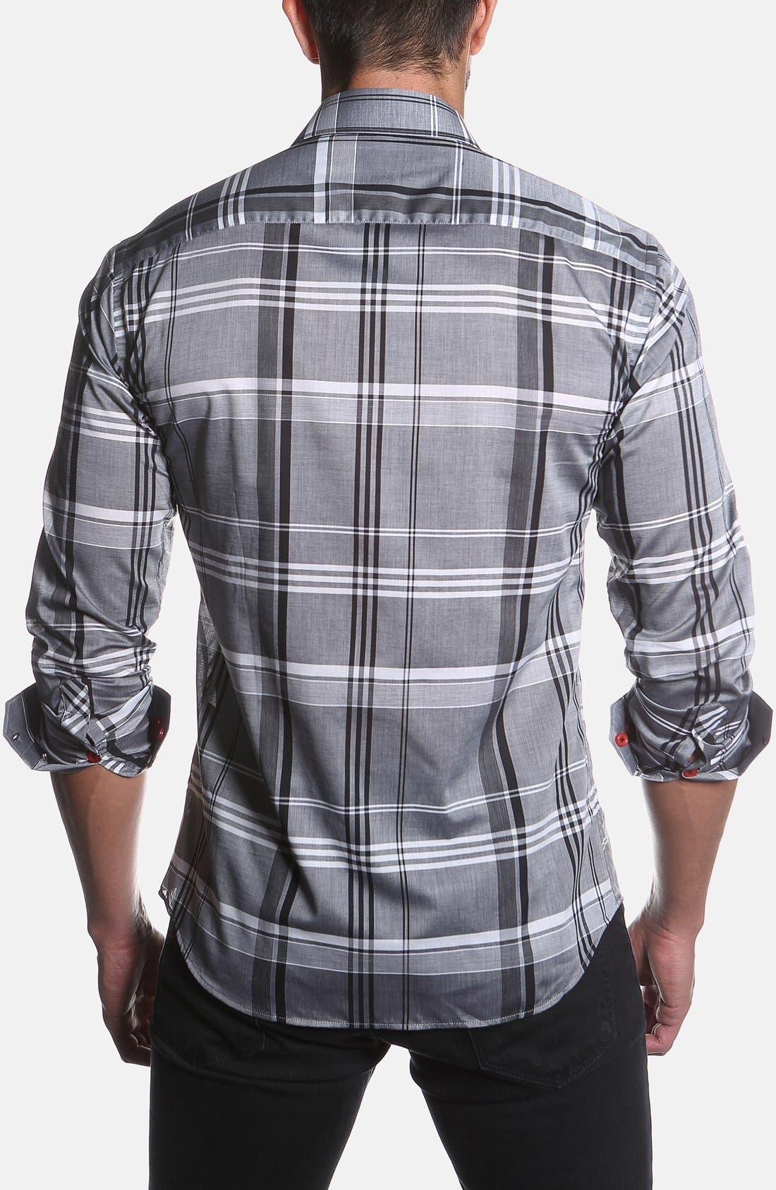 Trim Fit Plaid Sport Shirt,                             Alternate thumbnail 2, color,                             Grey Plaid