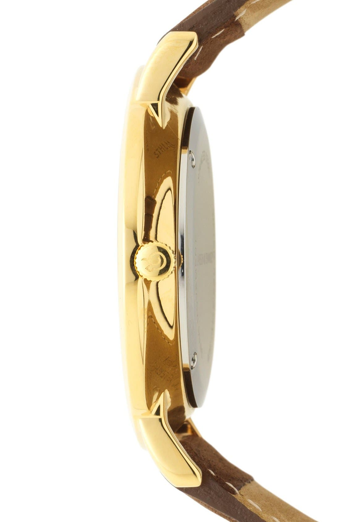 'Lugano' Leather Strap Watch, 40mm,                             Alternate thumbnail 3, color,                             Brown/ White/ Gold