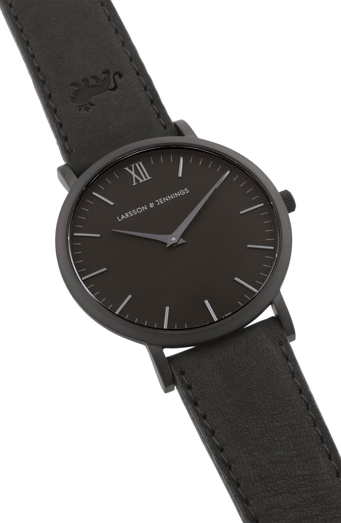'Lugano' Leather Strap Watch, 40mm,                             Alternate thumbnail 5, color,                             Black