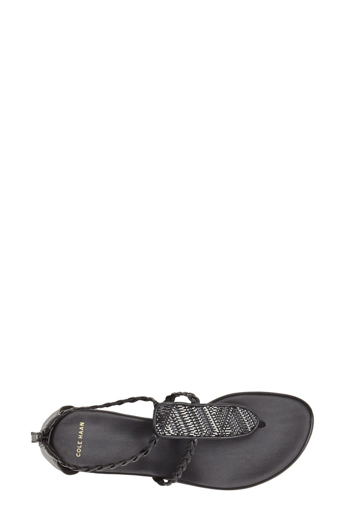 'Abbe' Sandal,                             Alternate thumbnail 3, color,                             Black/ White Leather