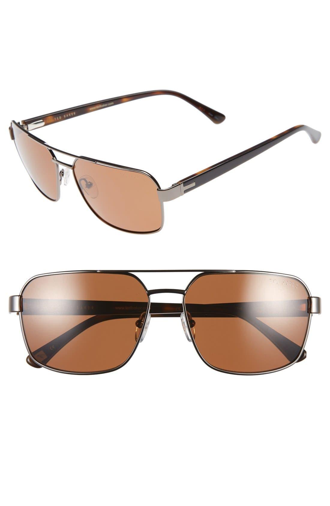 59mm Polarized Navigator Sunglasses,                         Main,                         color, Gunmetal