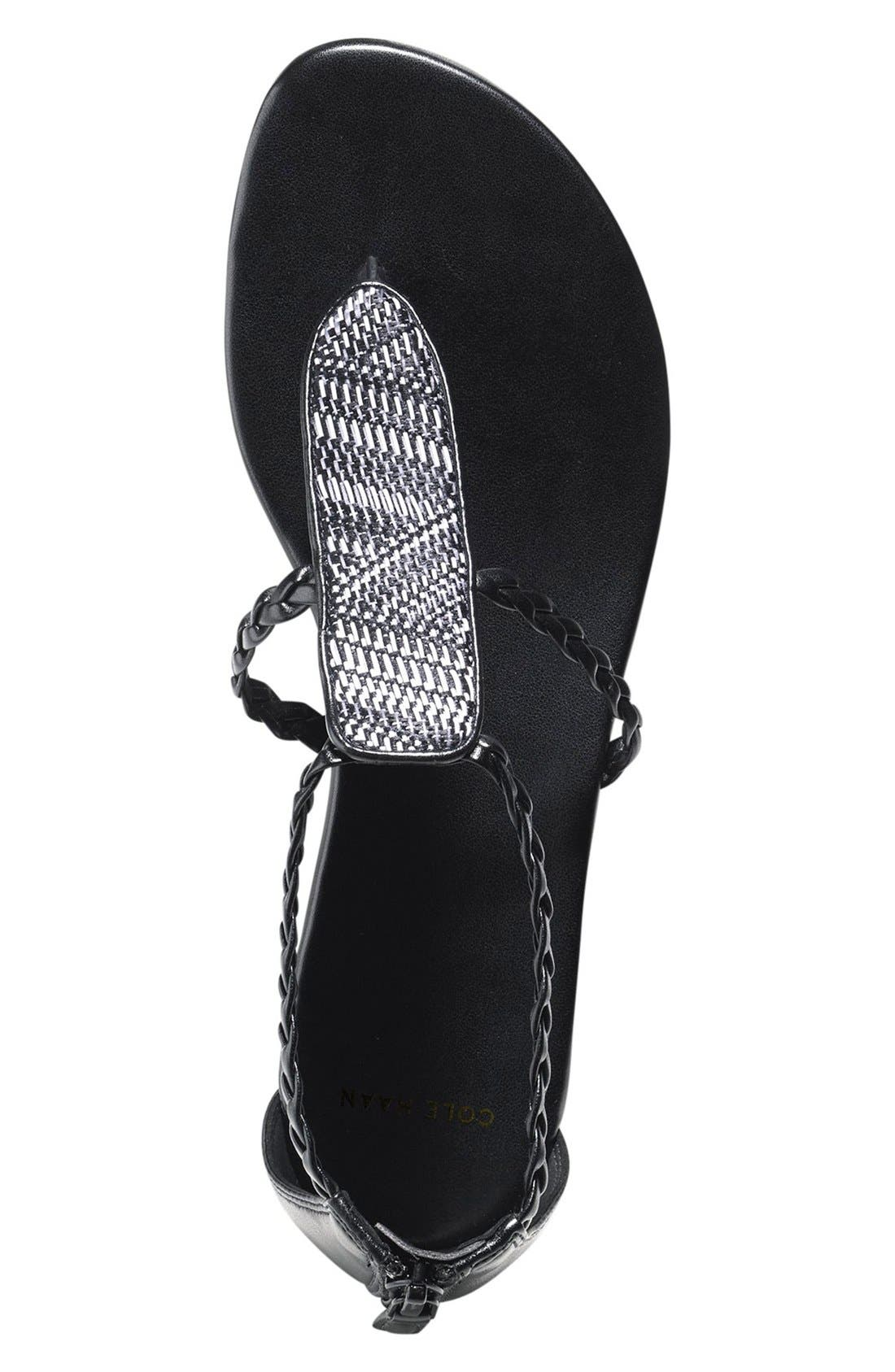 'Abbe' Sandal,                             Alternate thumbnail 5, color,                             Black/ White Leather