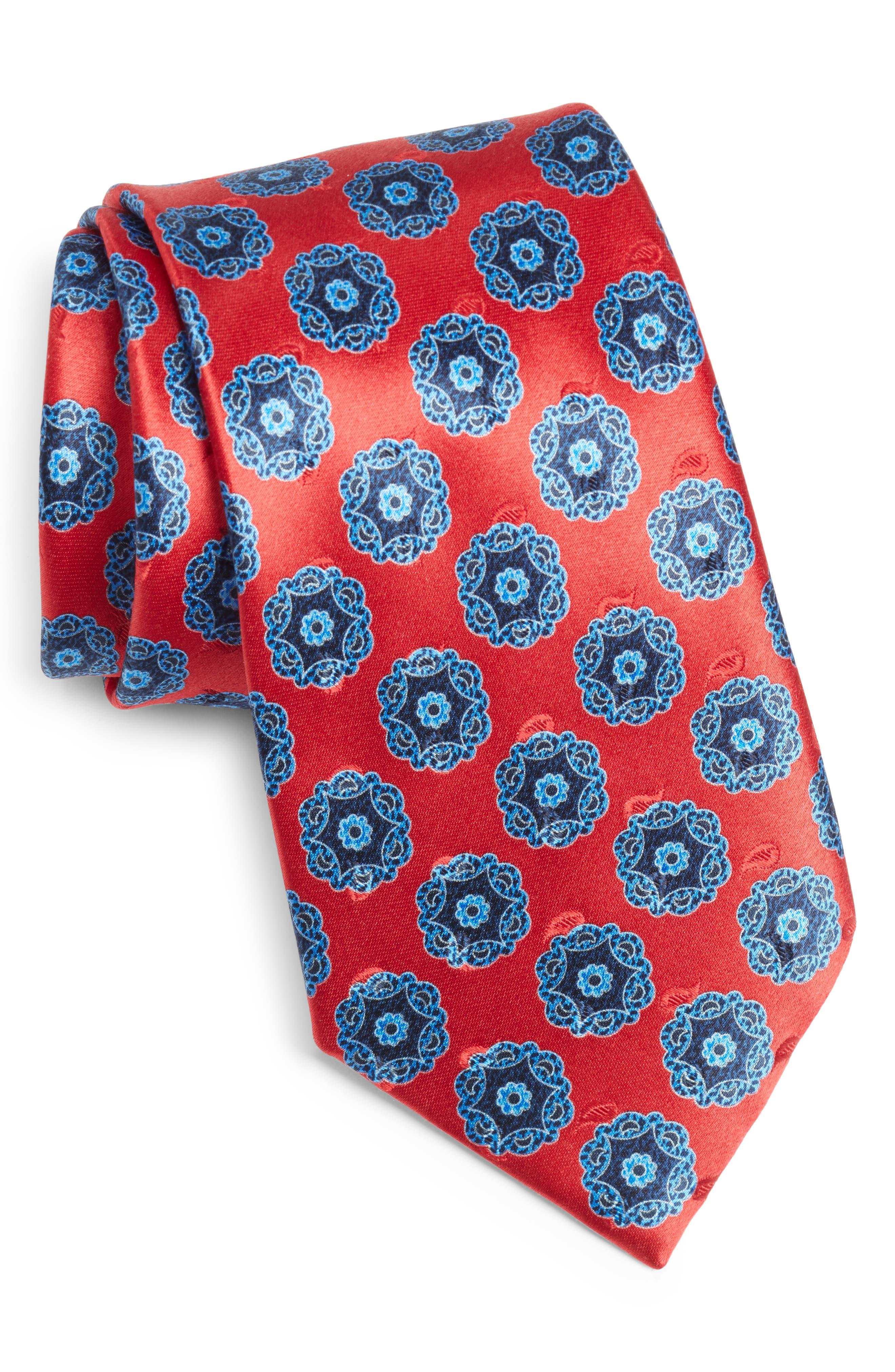 Men/'s Fashion White Multicolor Flowered Neck Tie Gift Box