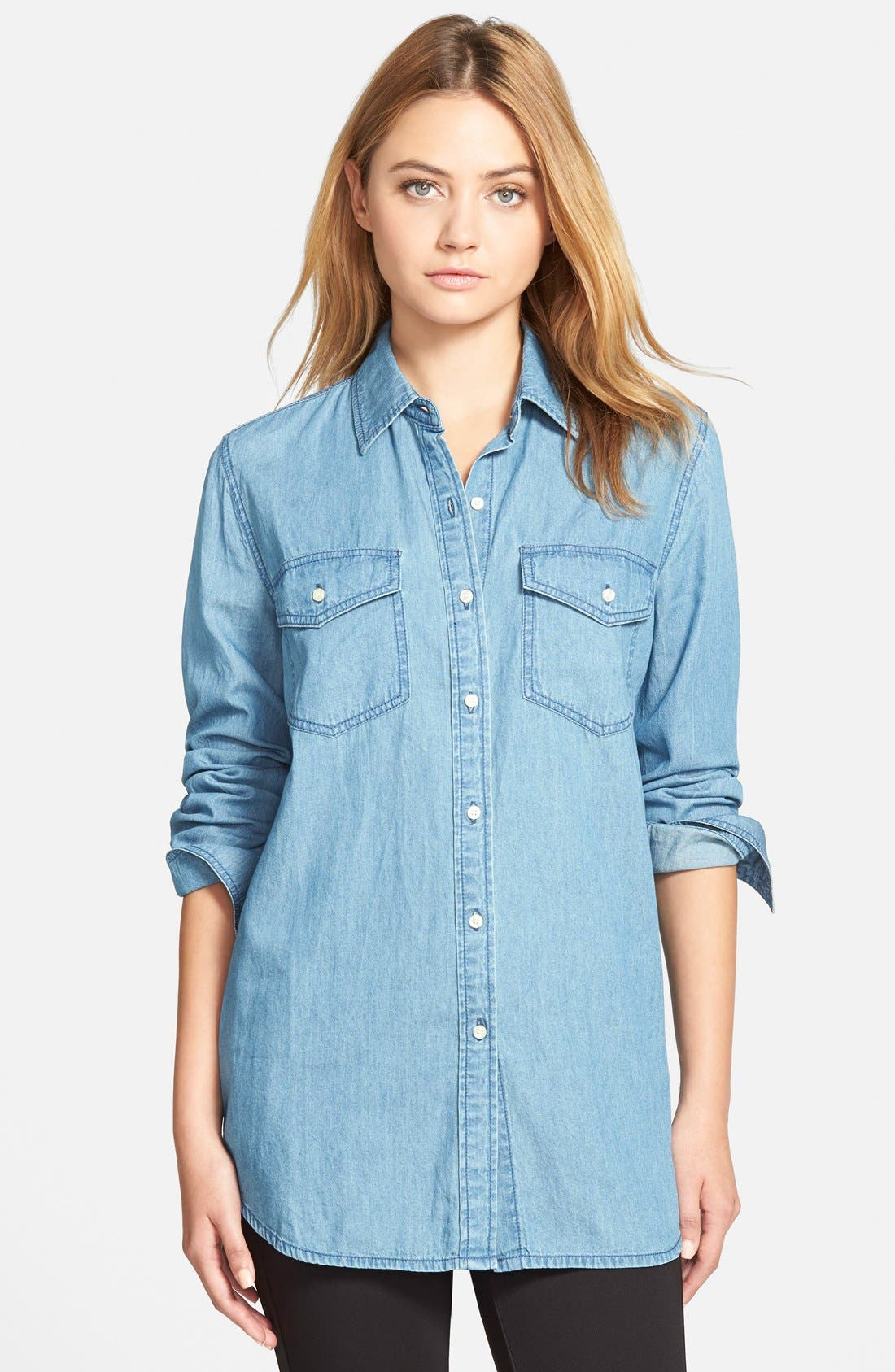 'Golden State' Chambray Shirt,                             Main thumbnail 1, color,                             Blue