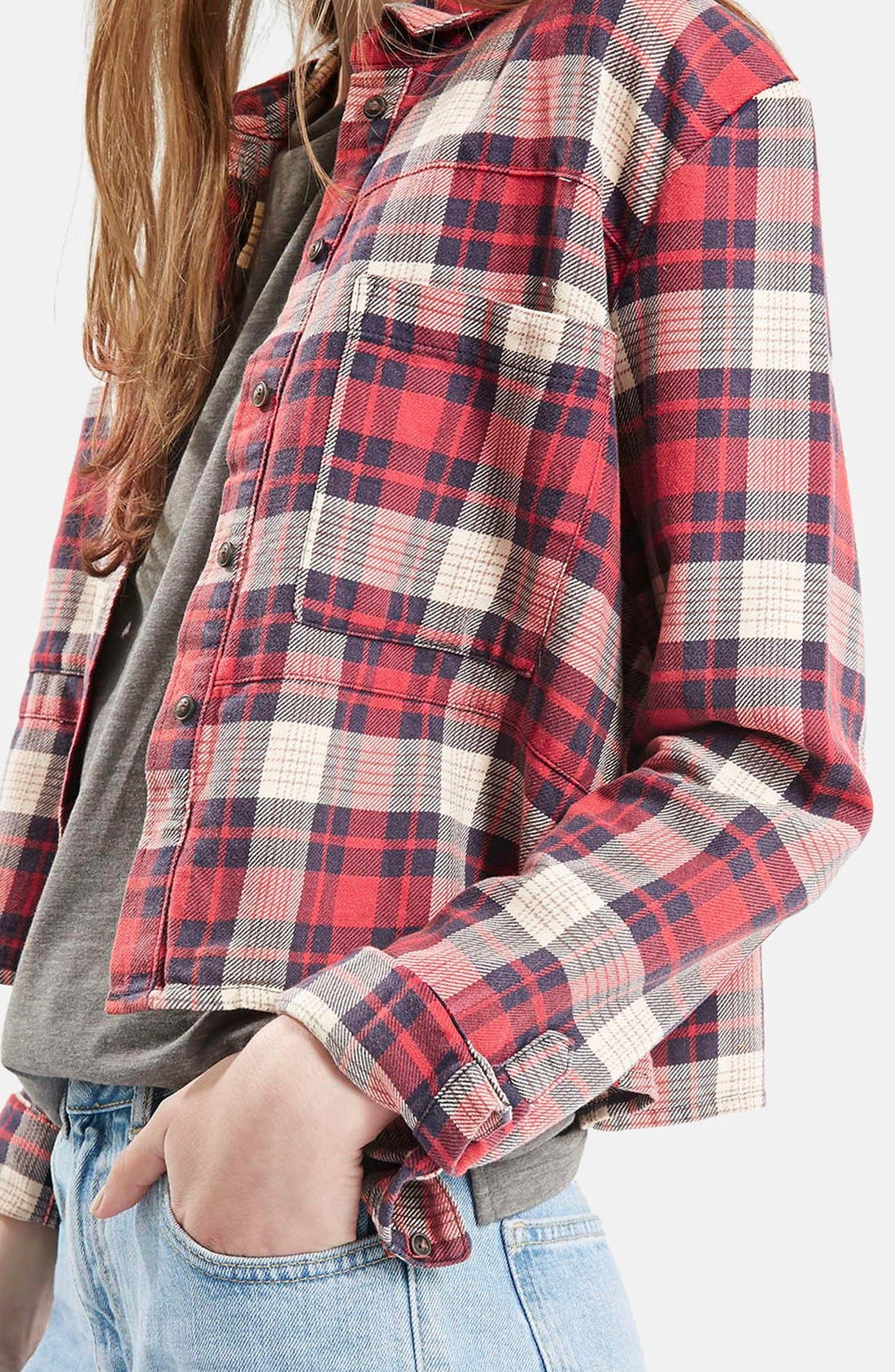 Alternate Image 5  - Topshop 'Chloe' Crop Plaid Shirt