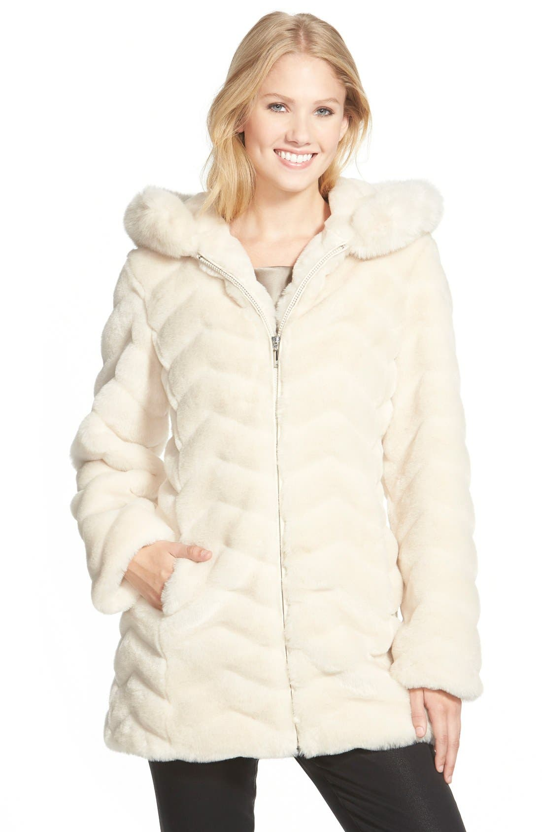 Gallery Hooded Chevron Faux Fur Coat