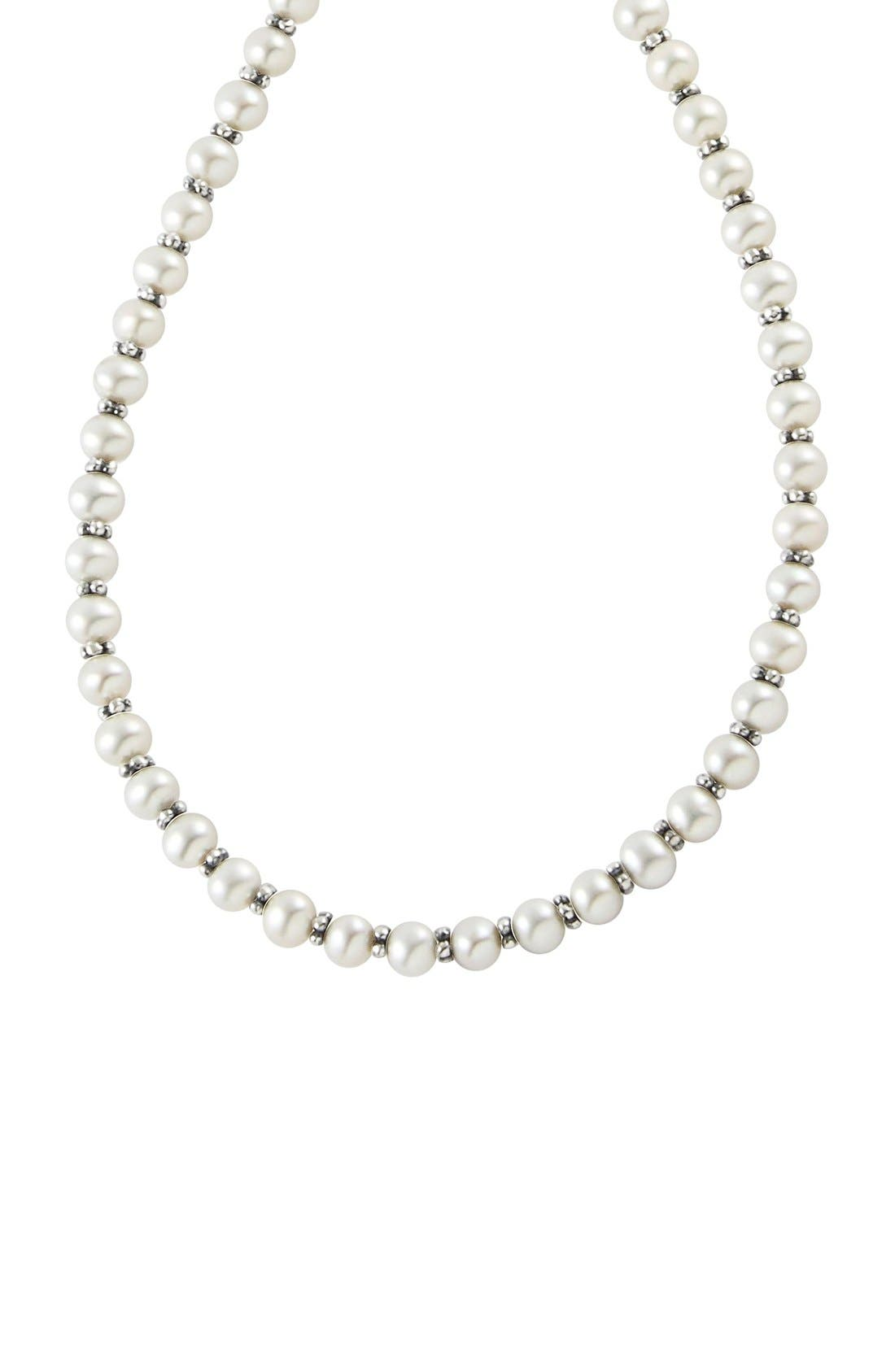 'Luna' Pearl Necklace,                             Alternate thumbnail 2, color,                             Silver/ Pearl
