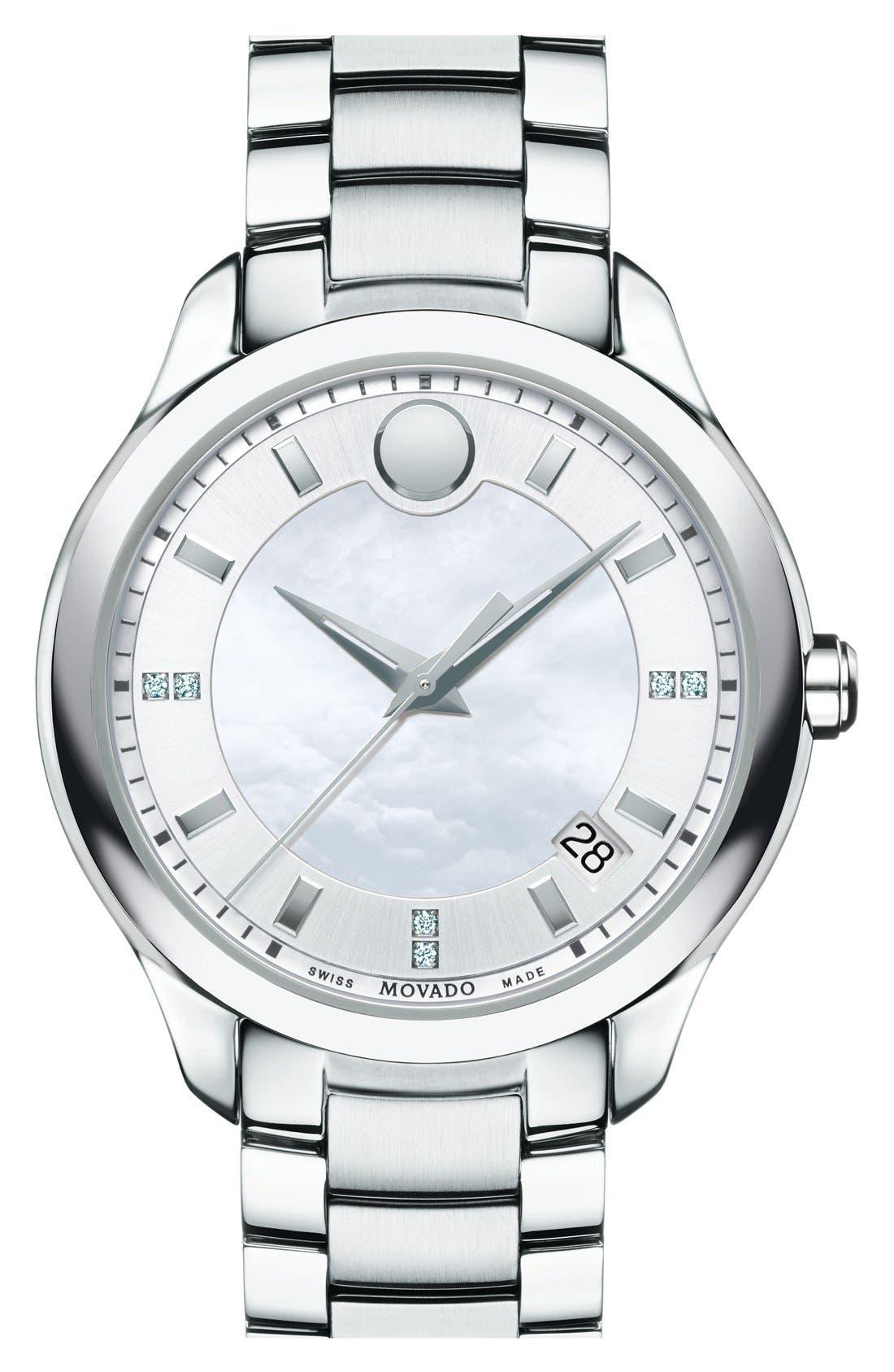 'Bellina' Bracelet Watch, 36mm,                         Main,                         color, Silver