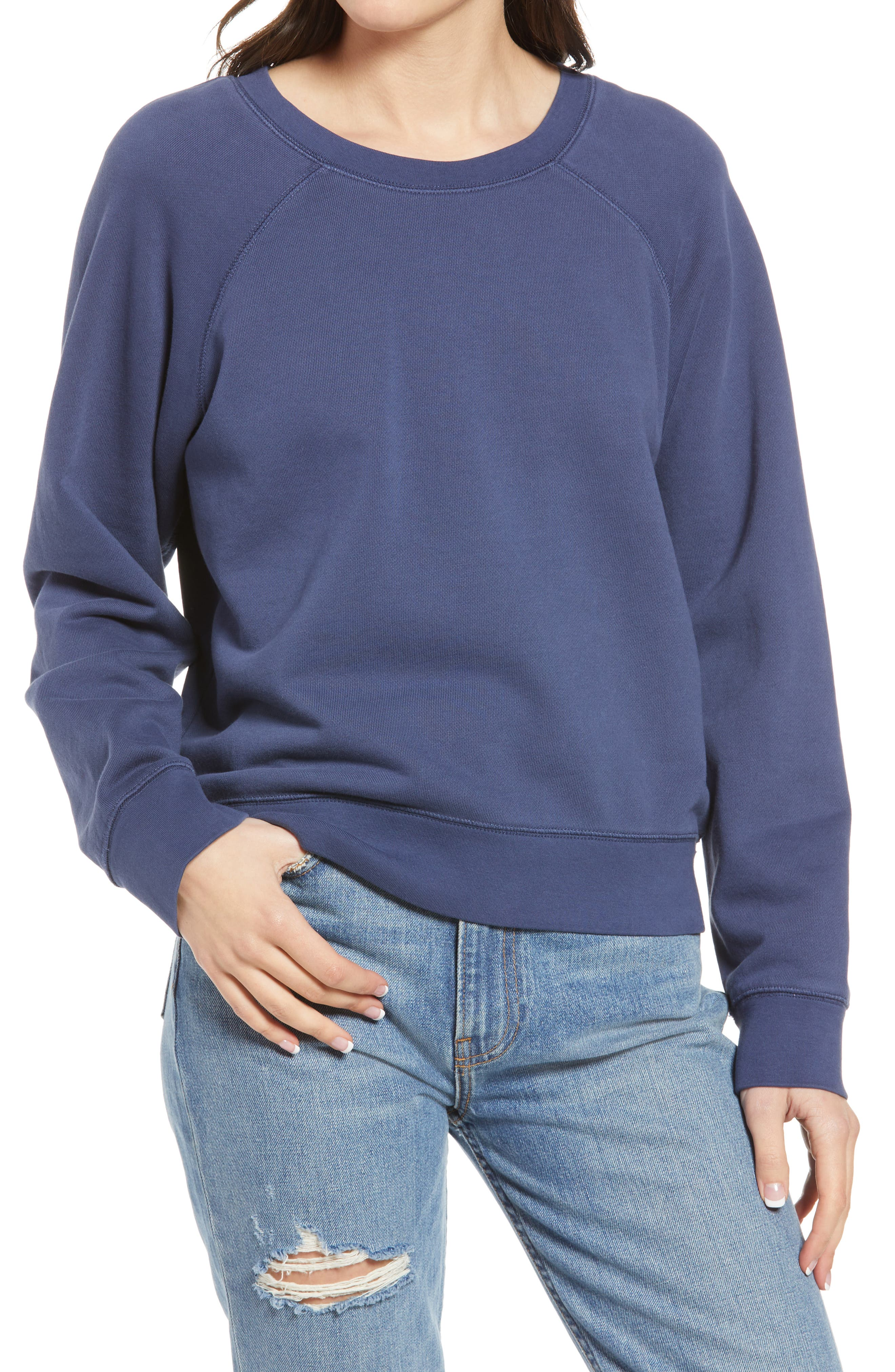 California style charcoal crew neck pullover sweatshirt USA Made