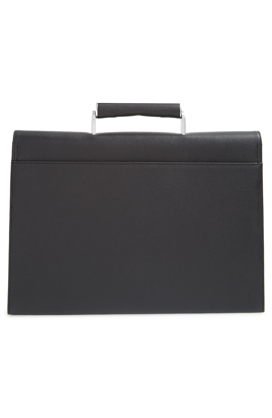 French Classic 3.0 Leather Briefcase,                             Alternate thumbnail 3, color,                             Black