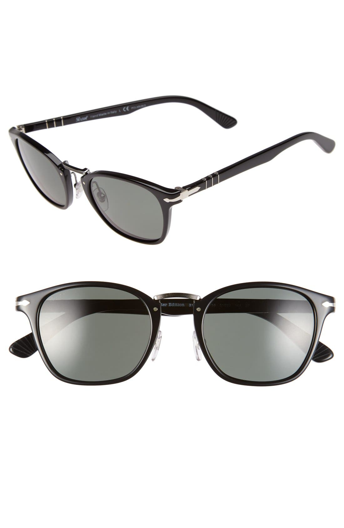 PERSOL 51Mm Polarized Retro Sunglasses - Black/ Grey Green