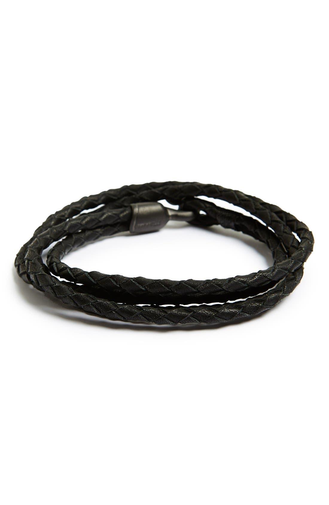 Alternate Image 1 Selected - Miansai 'Trice Noir' Braided Leather Wrap Bracelet