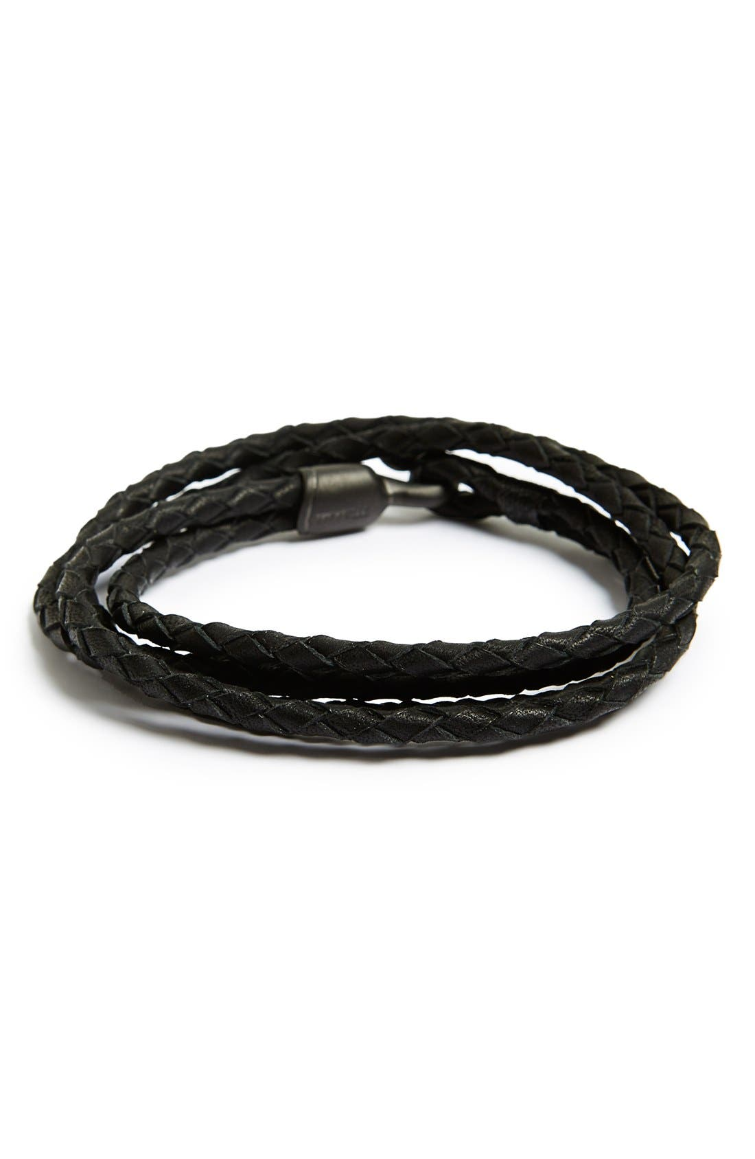 Main Image - Miansai 'Trice Noir' Braided Leather Wrap Bracelet