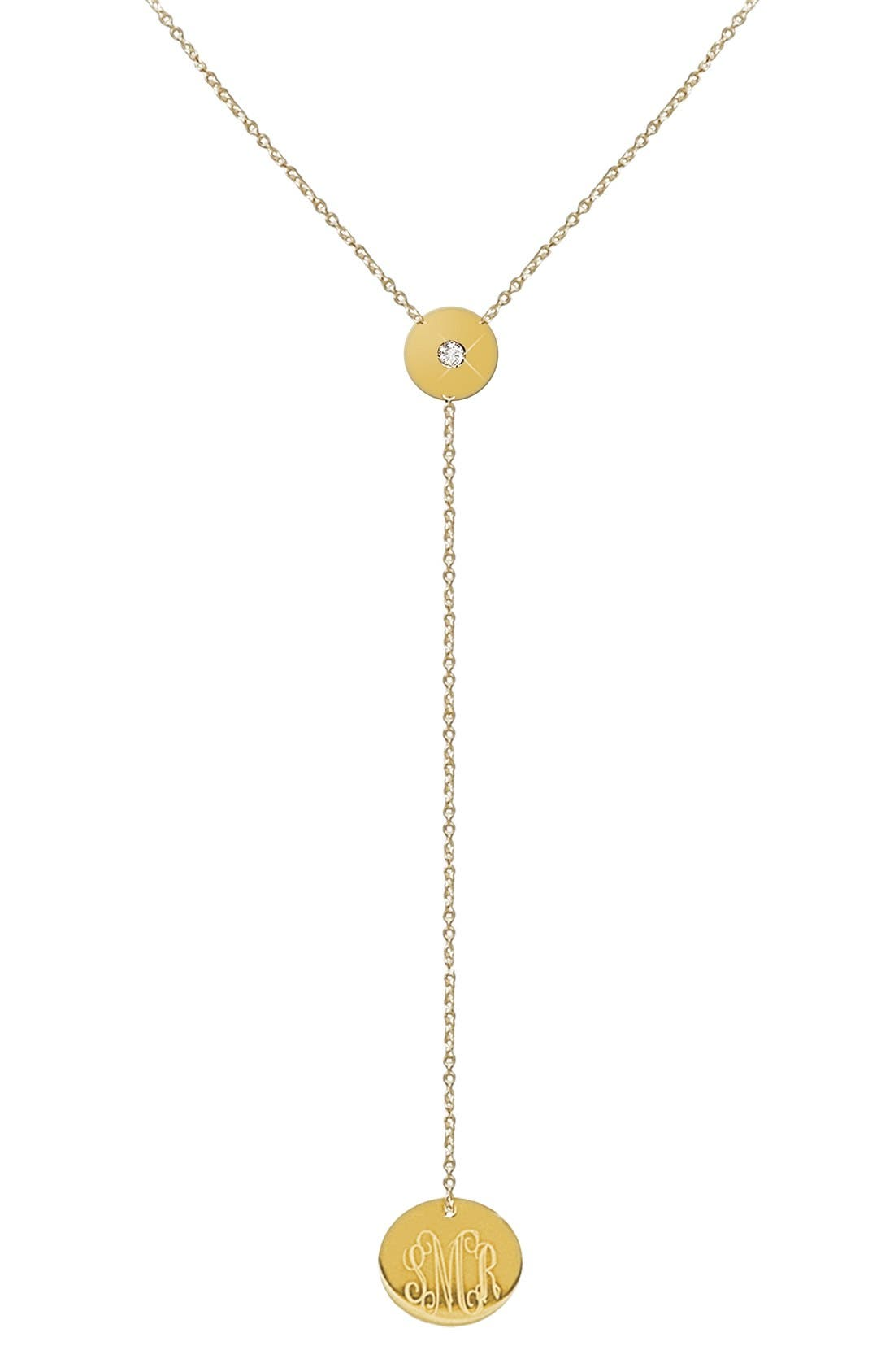 Diamond & Personalized Monogram Y-Necklace,                             Main thumbnail 1, color,                             Gold