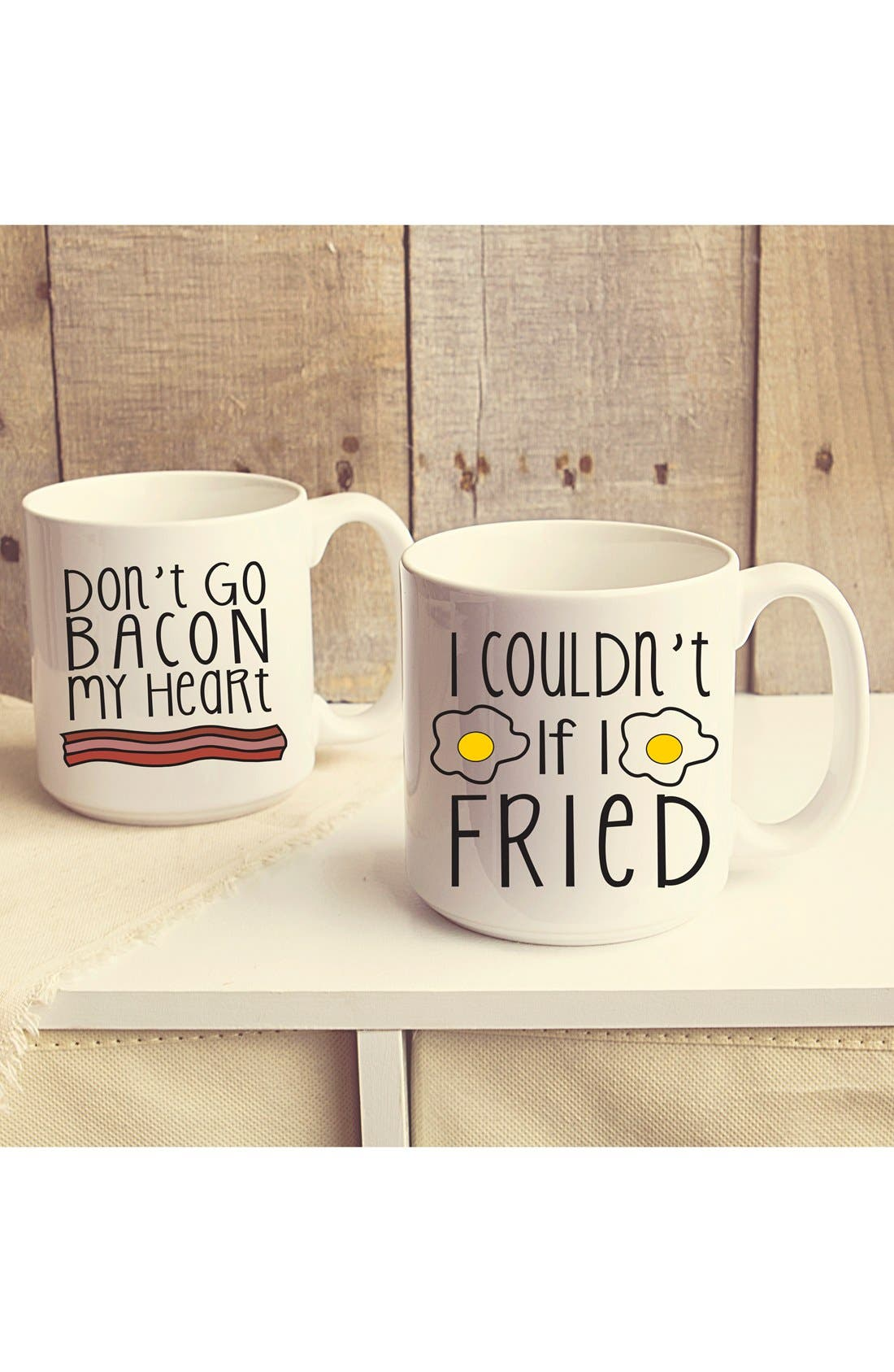 'Bacon & Eggs' Ceramic Coffee Mugs,                             Main thumbnail 1, color,                             White