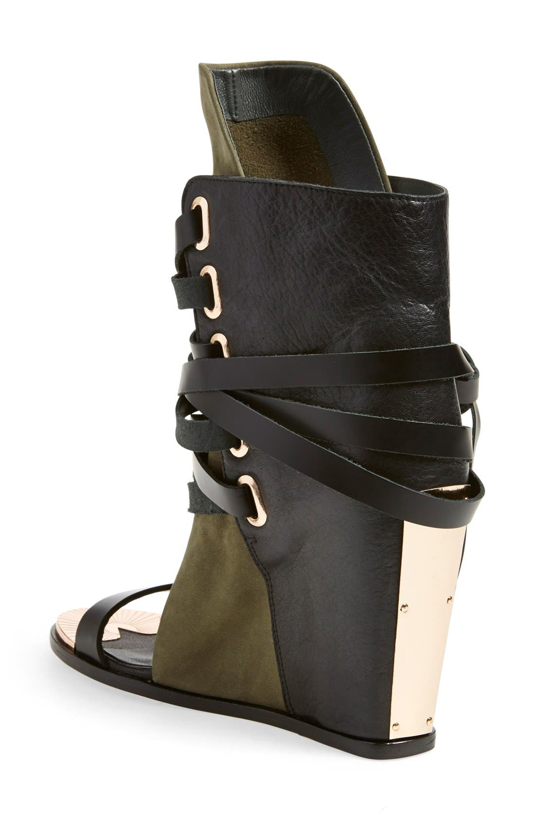 'Mount' Wedge Sandal,                             Alternate thumbnail 2, color,                             Black/ Cargo