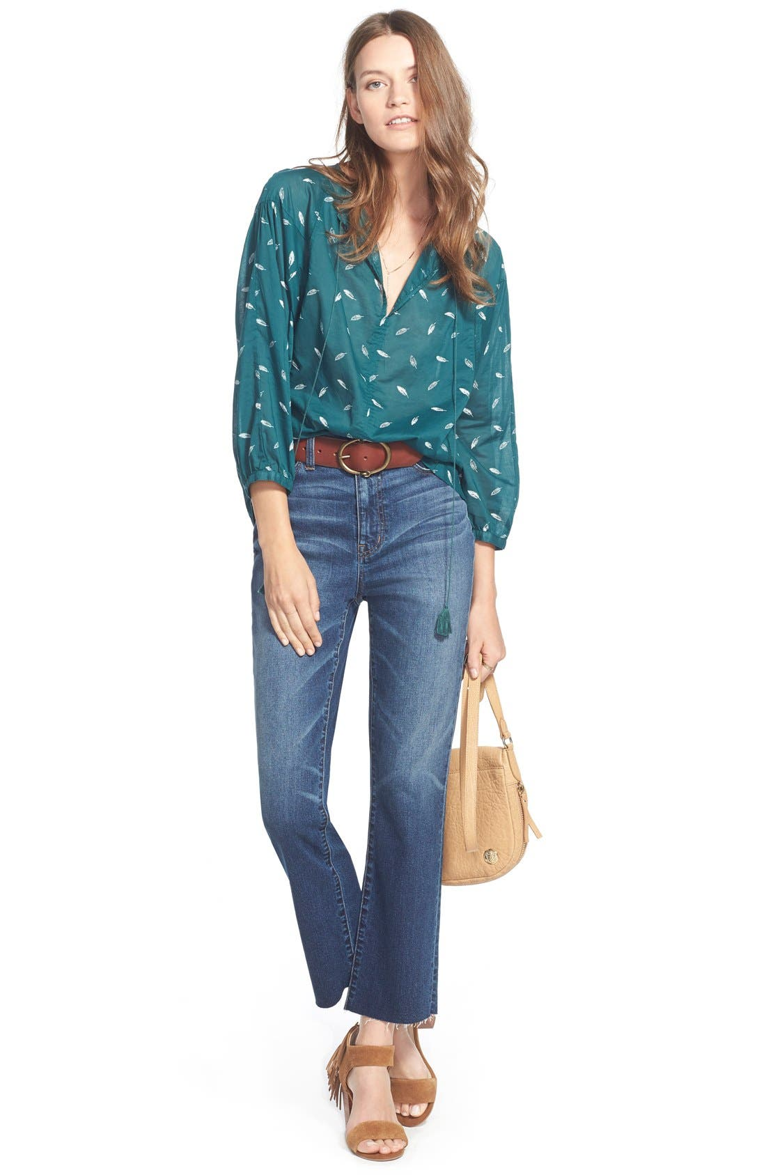 Alternate Image 2  - Madewell 'Fall Feathers' Tie Neck Peasant Blouse