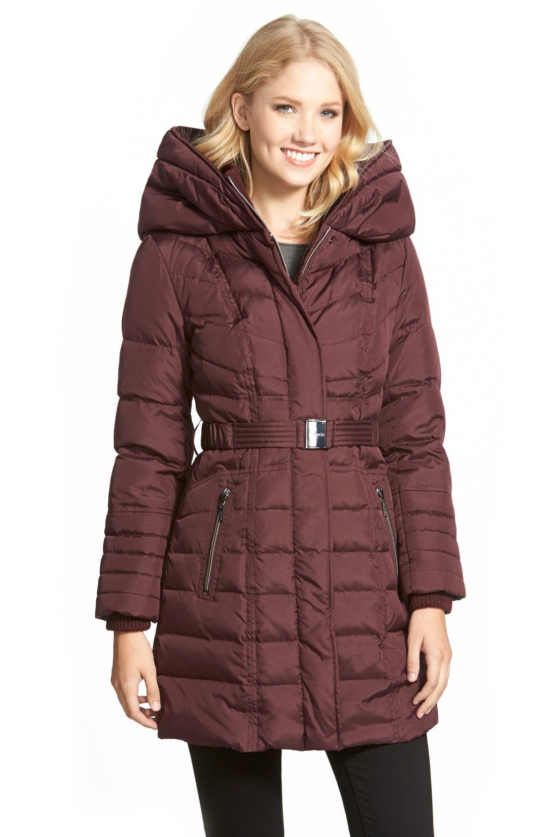 Main Image - kensie Belted Hooded Down & Feather Fill Coat