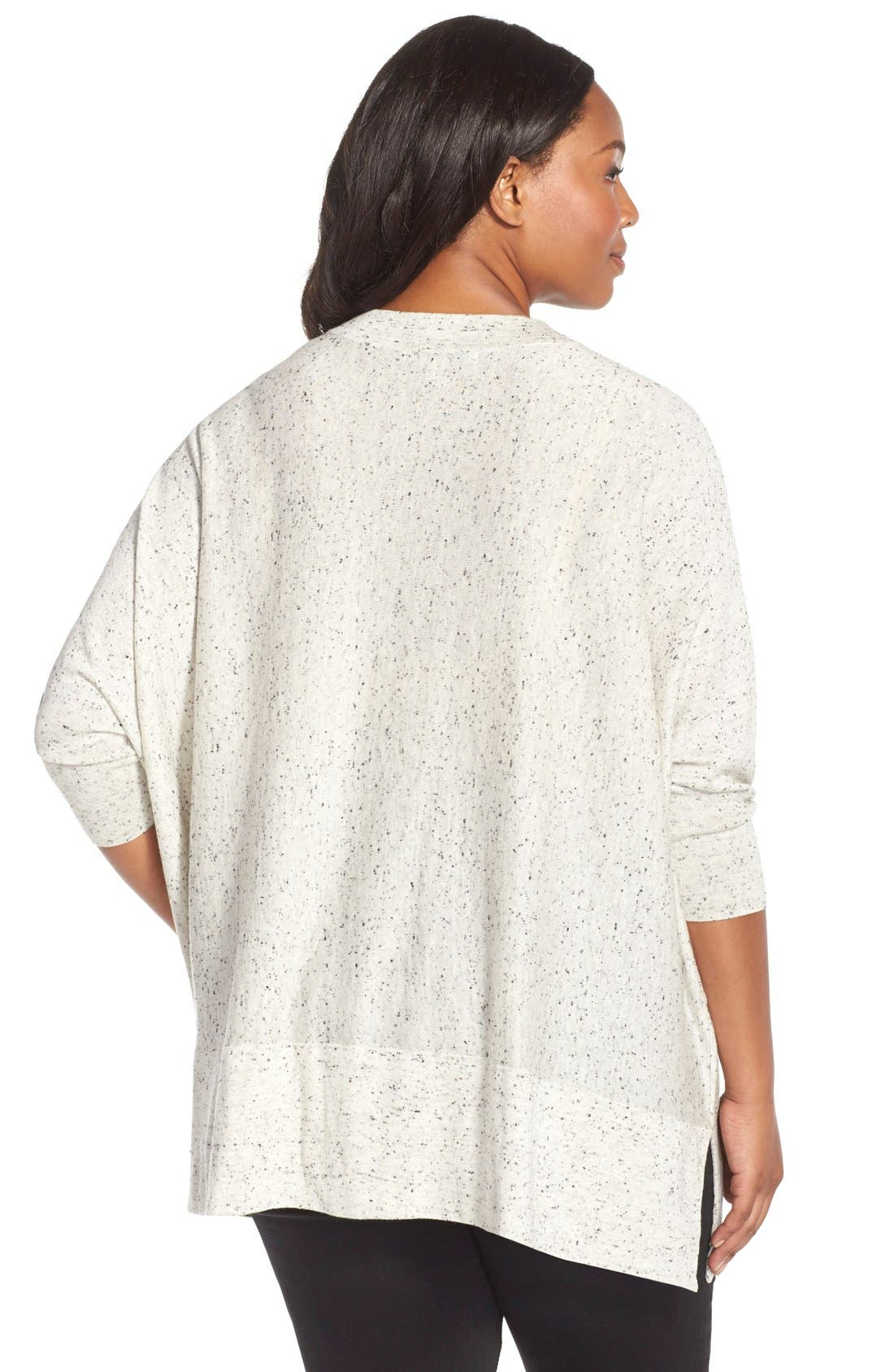 V-Neck Dolman Sleeve Pullover,                             Alternate thumbnail 2, color,                             Grey Heather Black Pattern