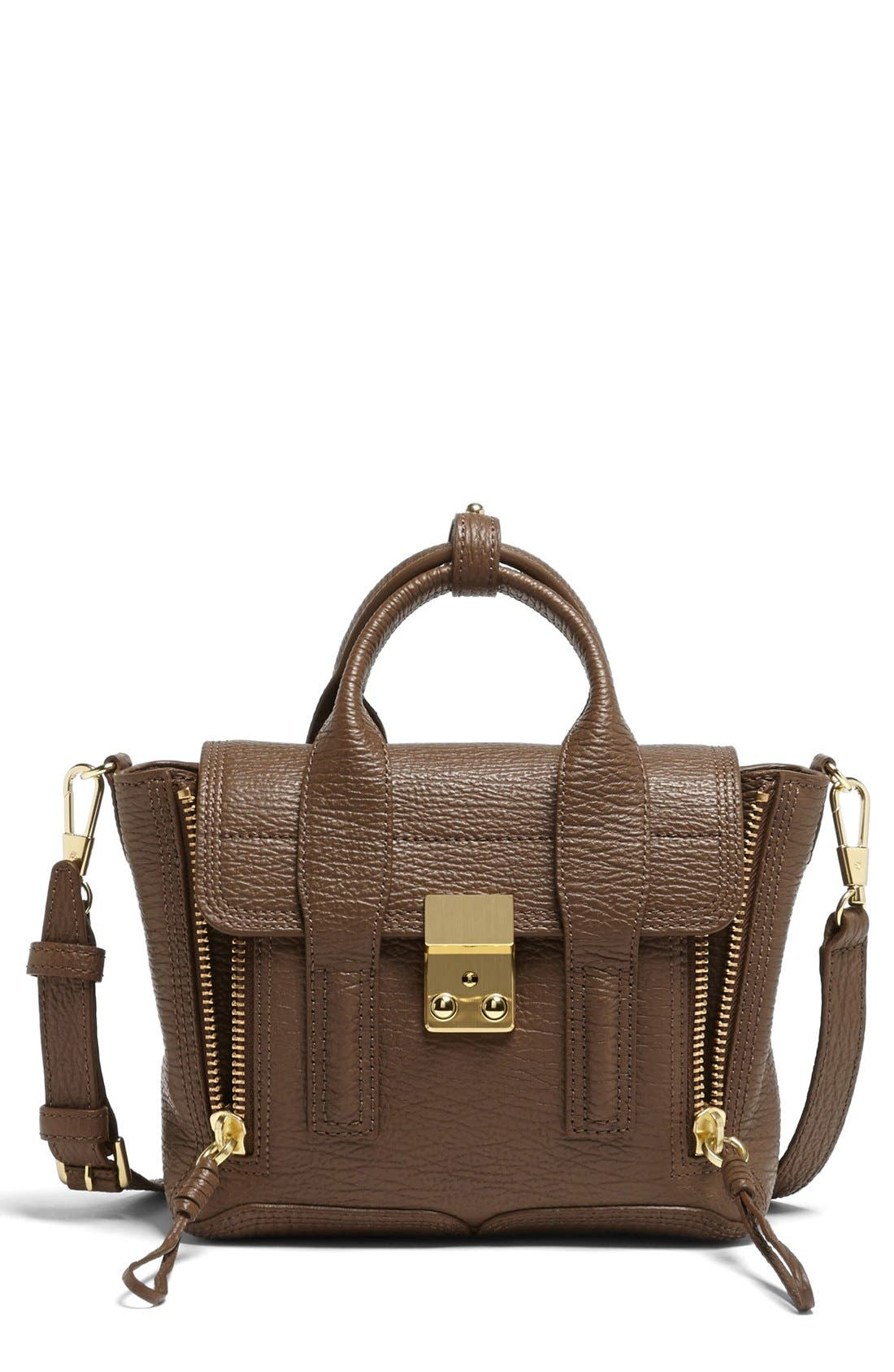 'Mini Pashli' Leather Satchel,                         Main,                         color, Taupe