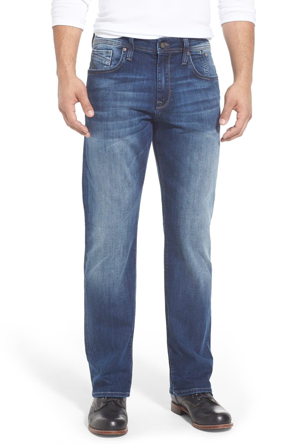 'Matt' Relaxed Fit Jeans,                             Main thumbnail 1, color,                             Mid Indigo Cooper
