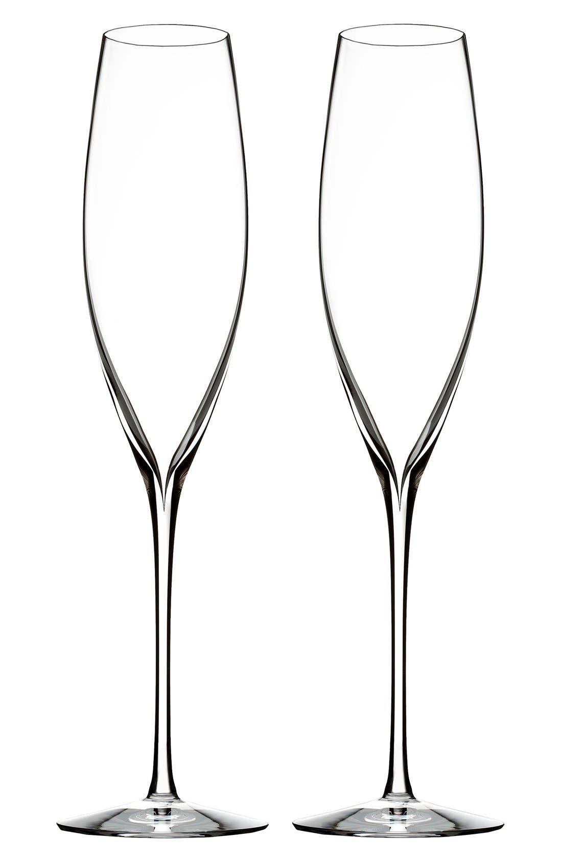 Main Image - Waterford 'Elegance' Fine Crystal Champagne Flutes (Set of 2)