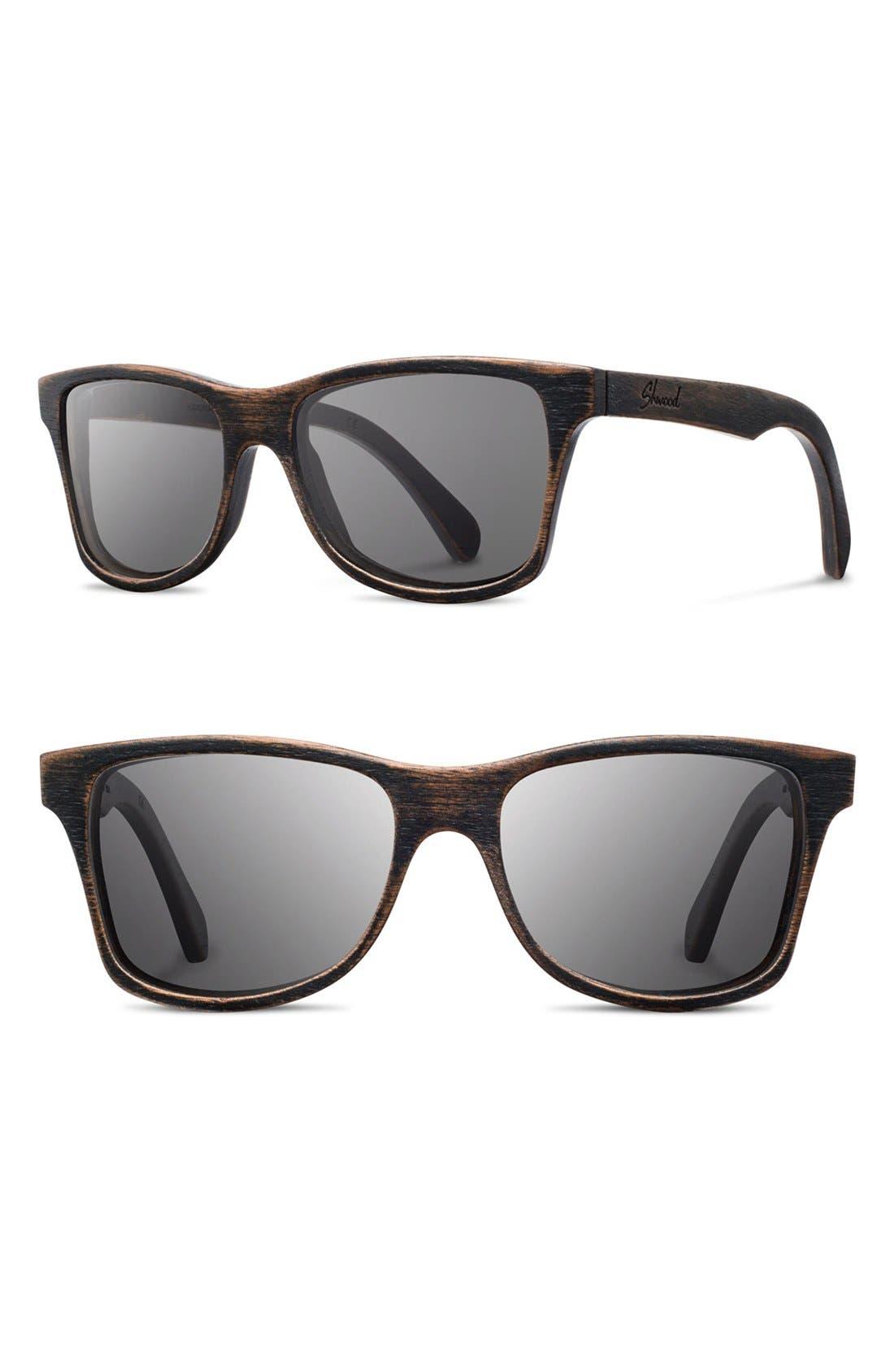'Canby' 54mm Polarized Wood Sunglasses,                             Main thumbnail 1, color,                             Dark Walnut/ Grey