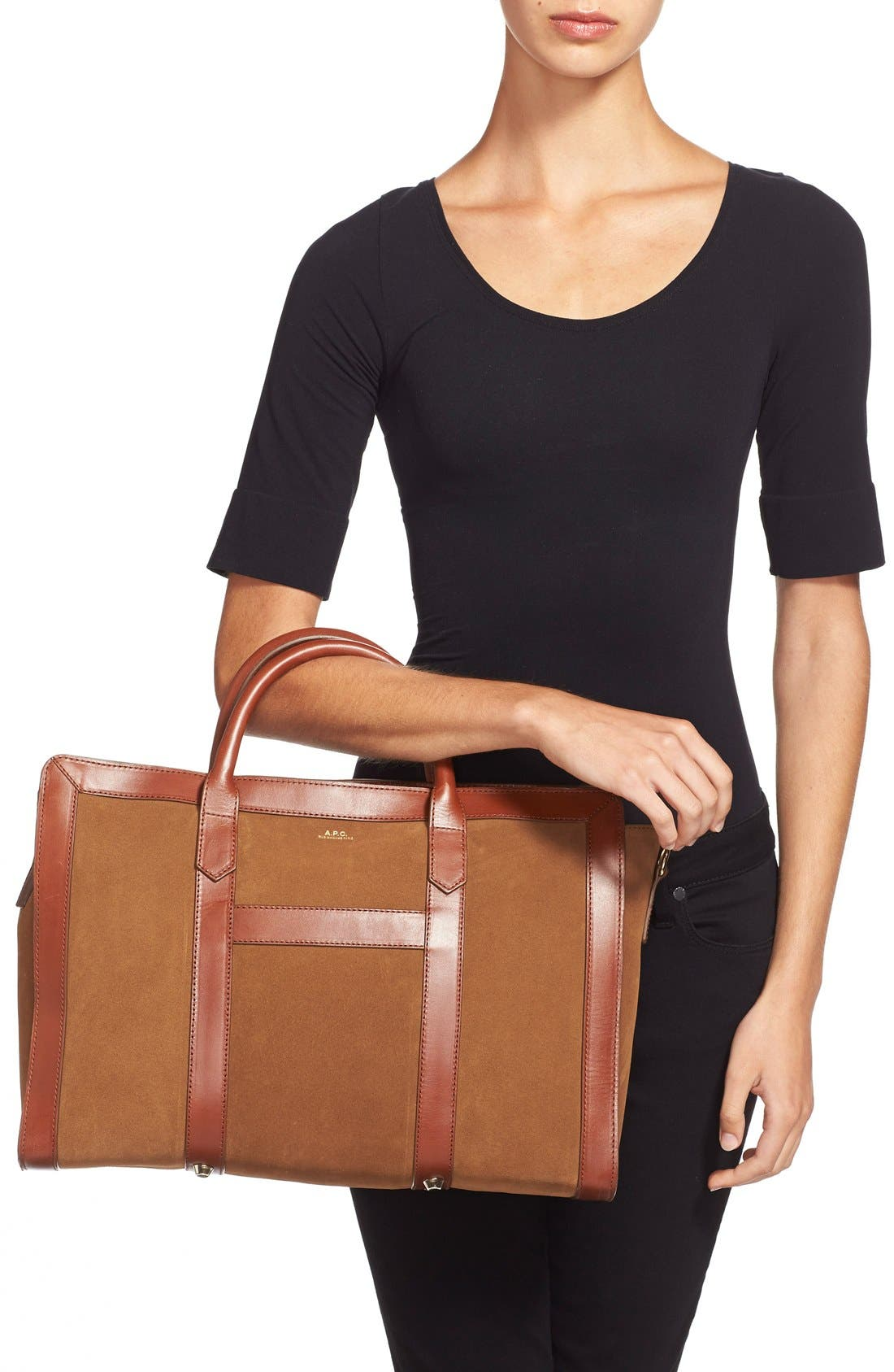 Alternate Image 2  - A.P.C. 'Lydia' Leather & Suede Satchel