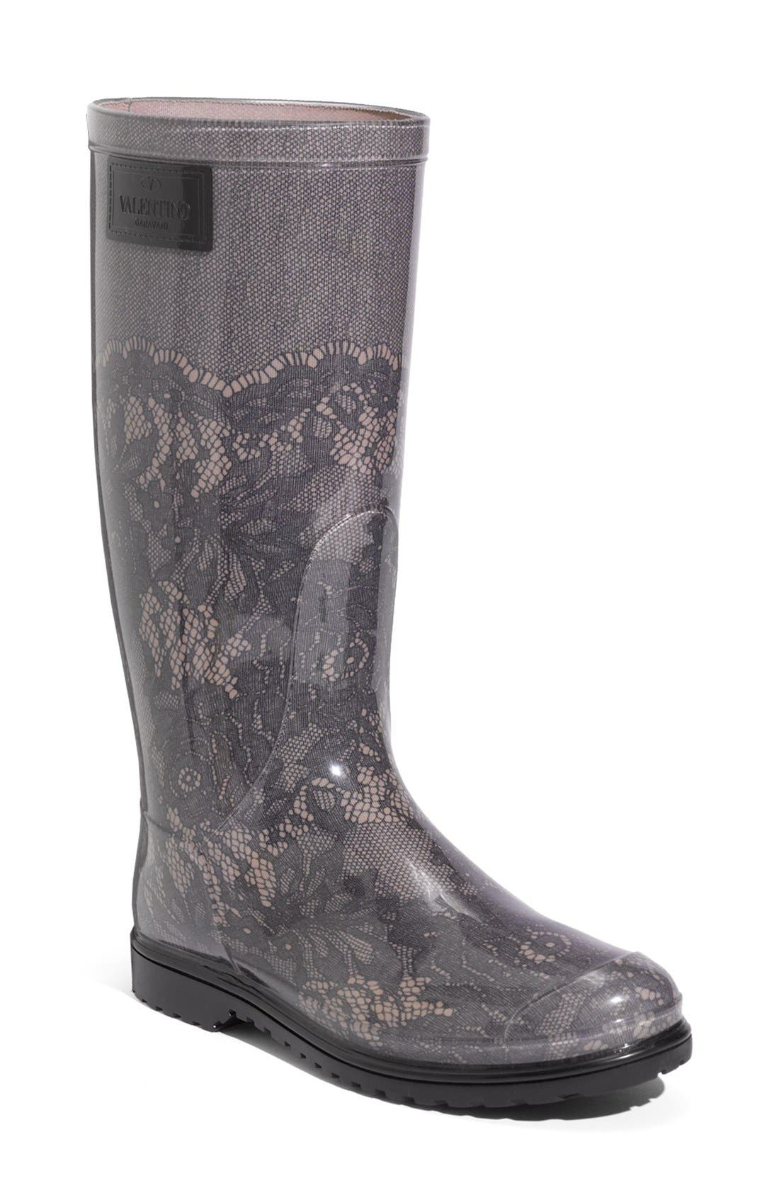 Main Image - VALENTINO GARAVANI Lace Print Rain Boot (Women)