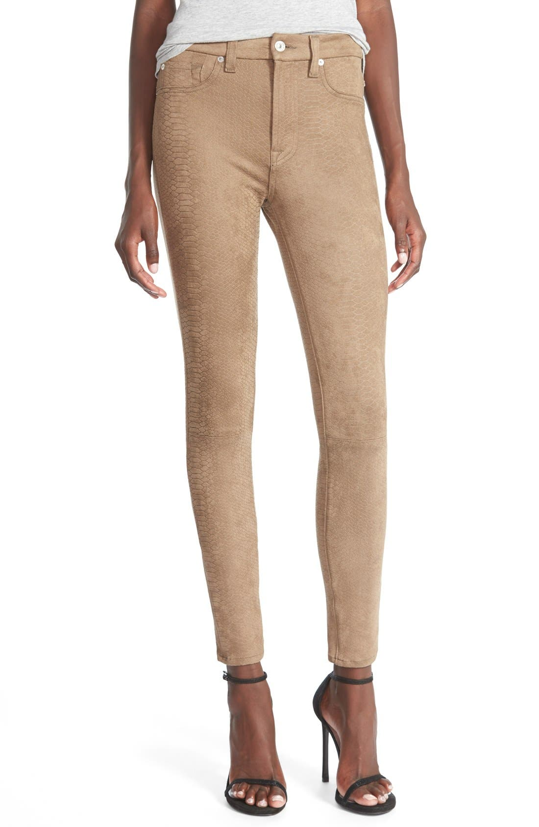 Main Image - 7 For All Mankind® Snakeskin Embossed Faux Leather Pants