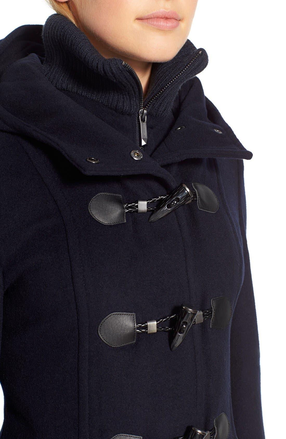 Alternate Image 5  - BCBGMAXAZRIA Faux Leather Trim Wool Blend Duffle Coat with Inset Bib