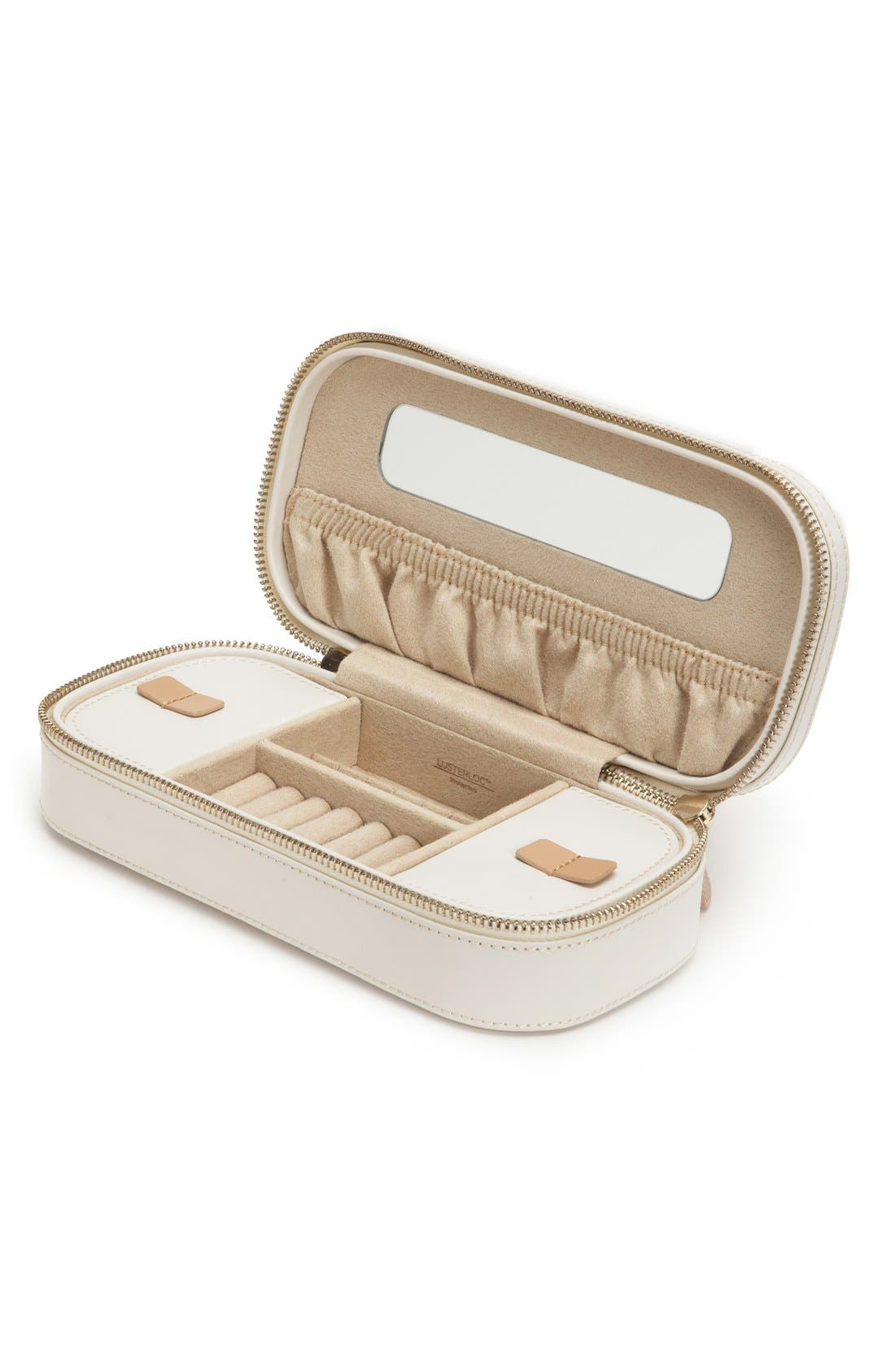 'Chloe' Zip Jewelry Case,                             Main thumbnail 1, color,                             Cream