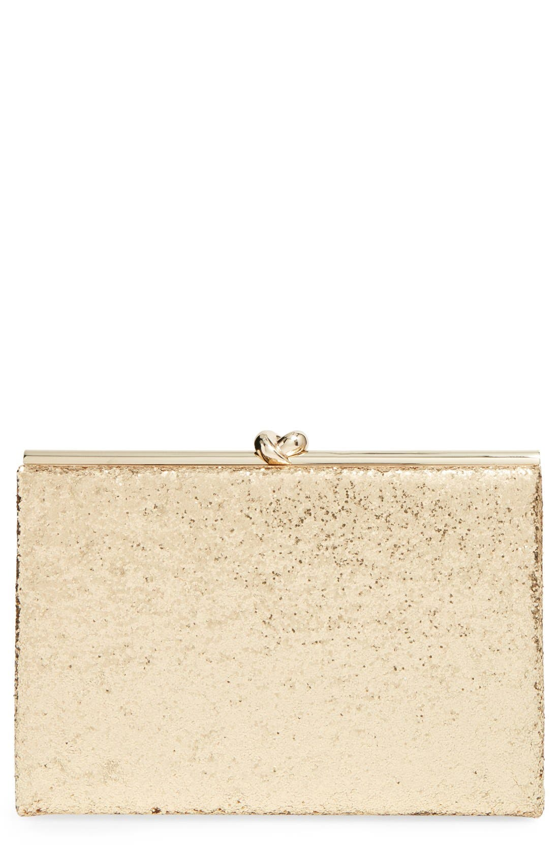 Alternate Image 1 Selected - kate spade new york 'wedding belles - gold knot' glitter box clutch