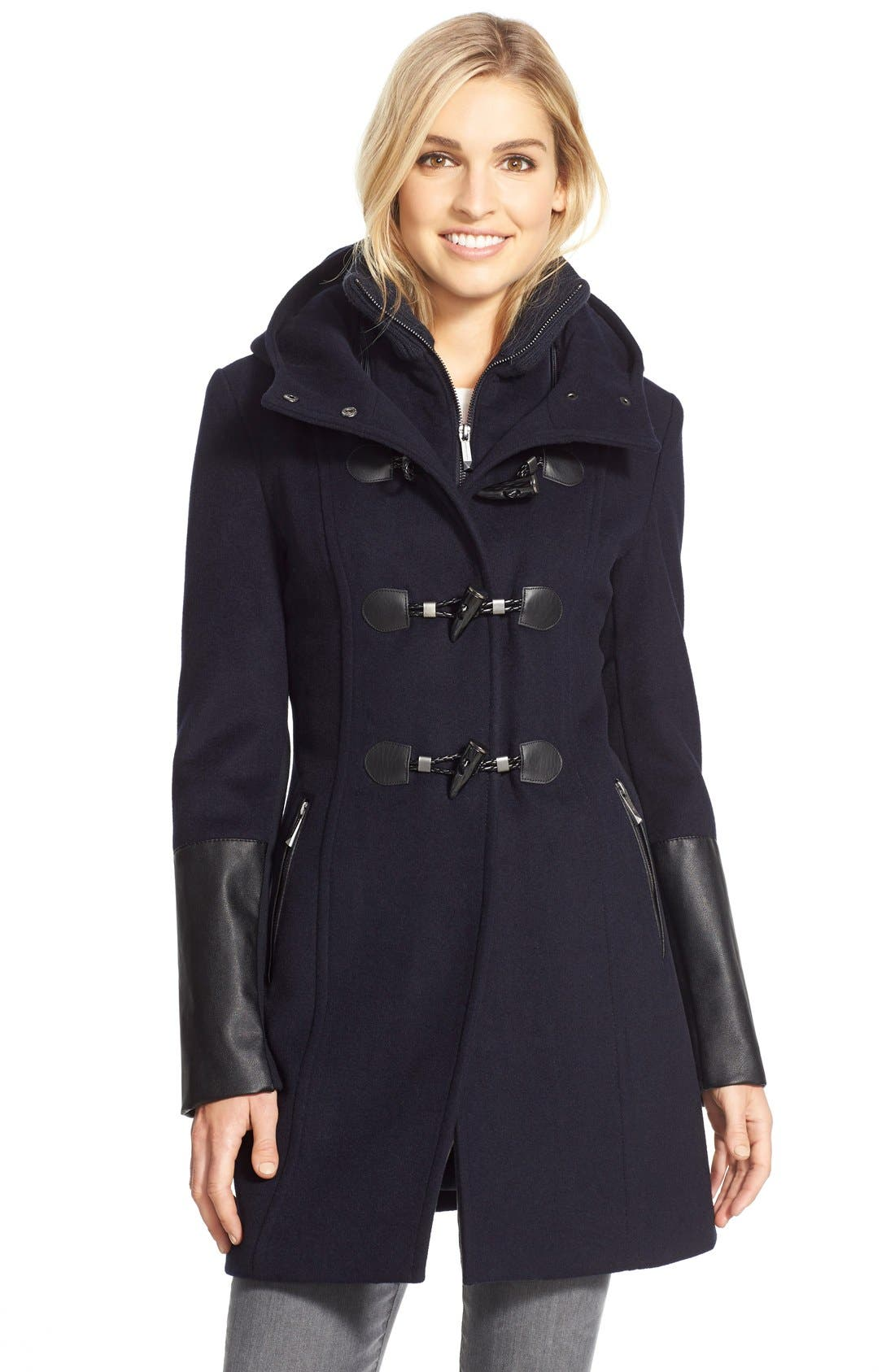 Faux Leather Trim Wool Blend Duffle Coat with Inset Bib,                         Main,                         color, Navy