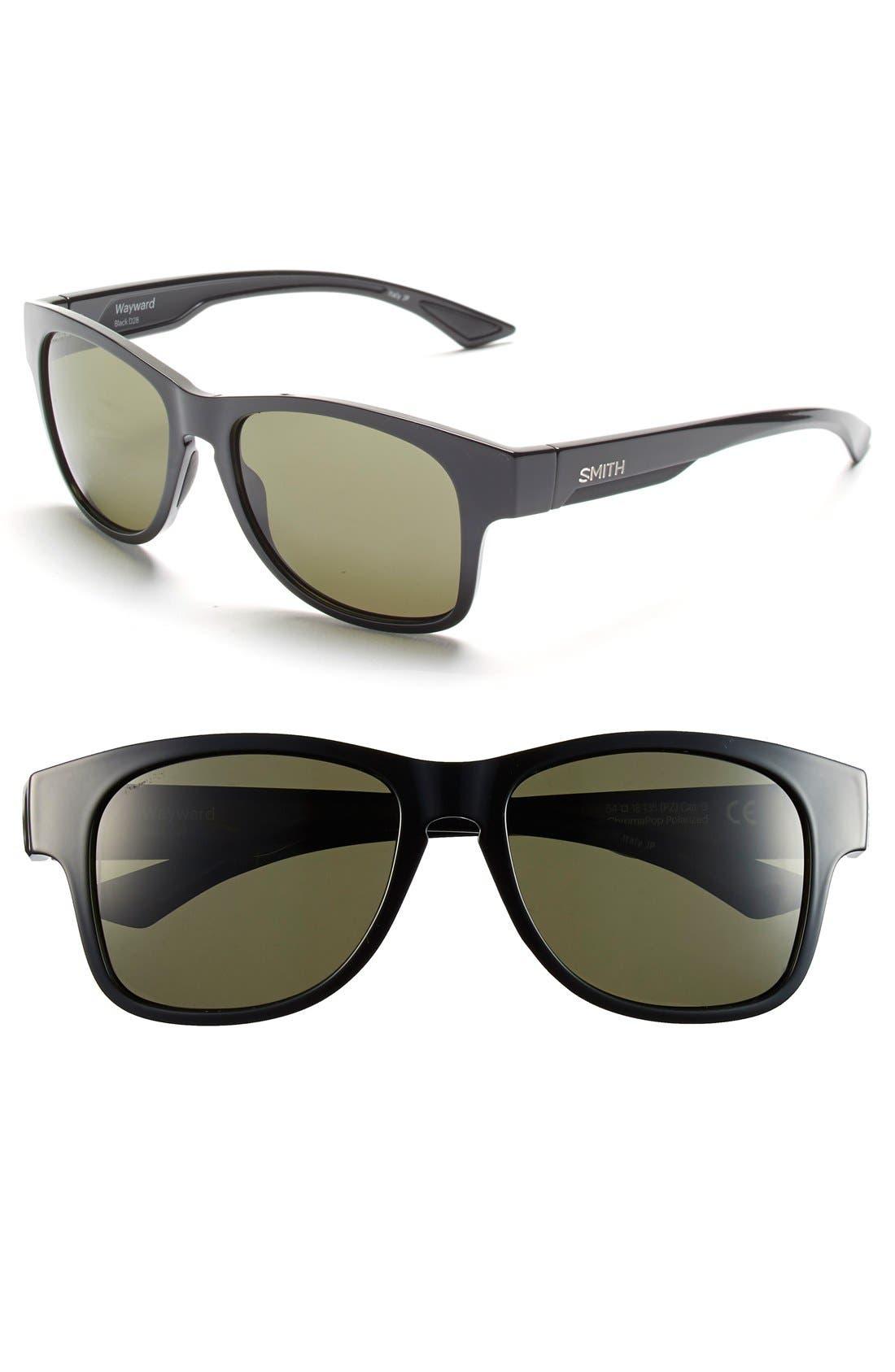 'Wayward' 54mm Polarized Sunglasses,                             Main thumbnail 1, color,                             Black/ Polar Gray Green