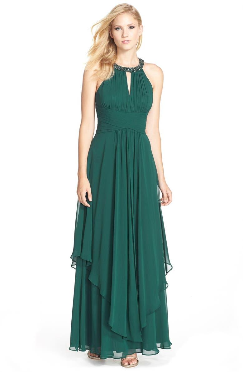 Eliza J Embellished Tiered Chiffon Halter Gown | Nordstrom