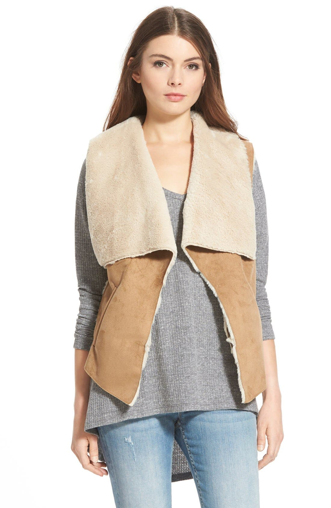 Alternate Image 1 Selected - Celebrity Pink Faux Shearling Vest (Juniors)