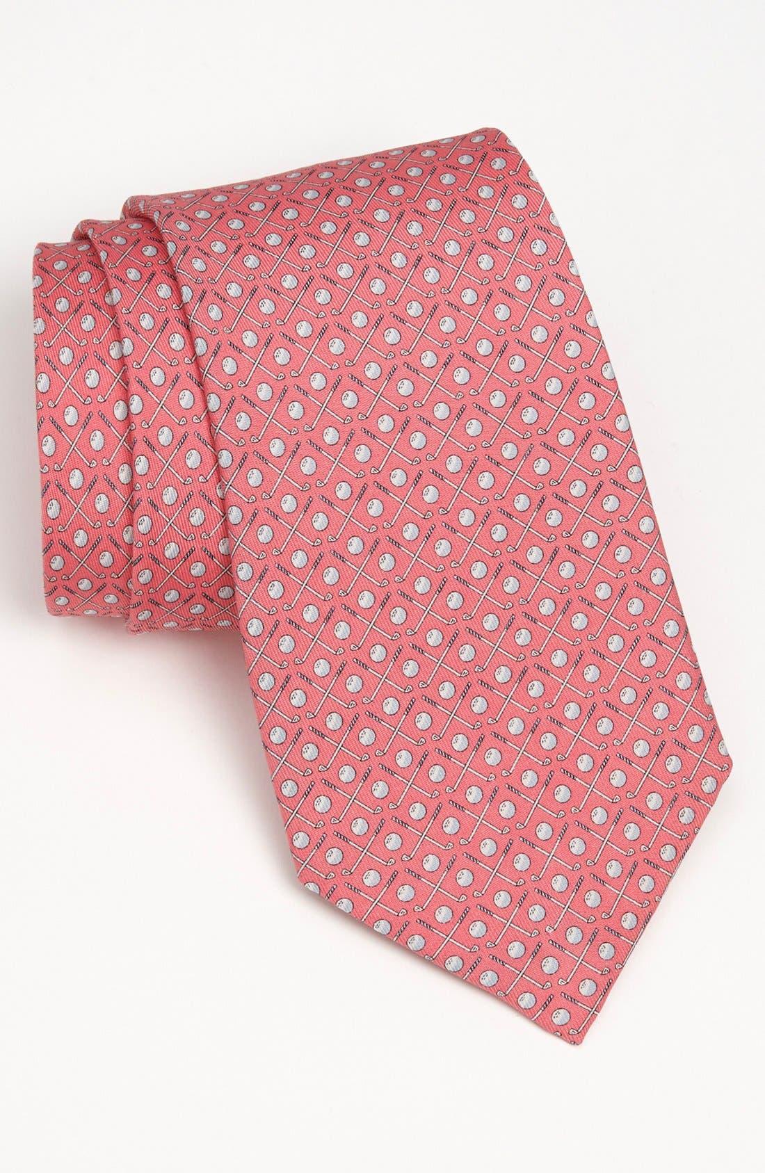Golf Clubs Silk Tie,                         Main,                         color, Light Pink