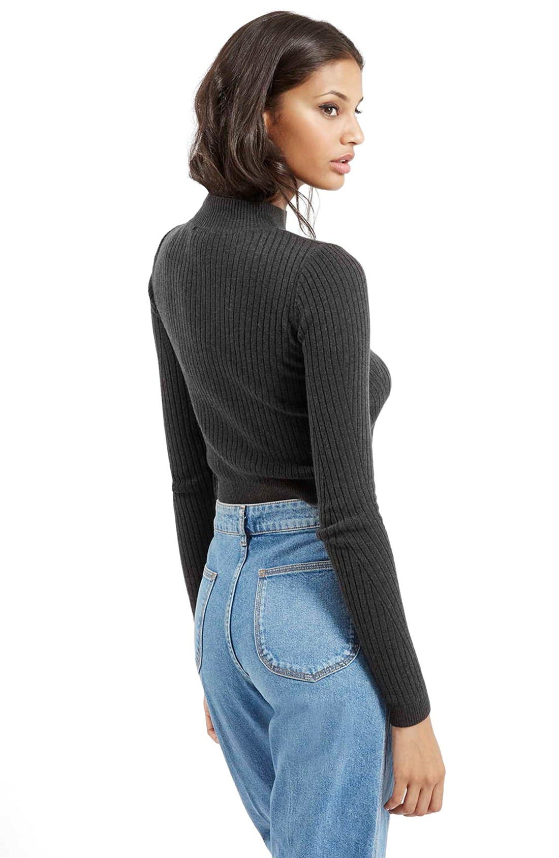 Alternate Image 3  - Topshop Ribbed Long Sleeve Crop Top