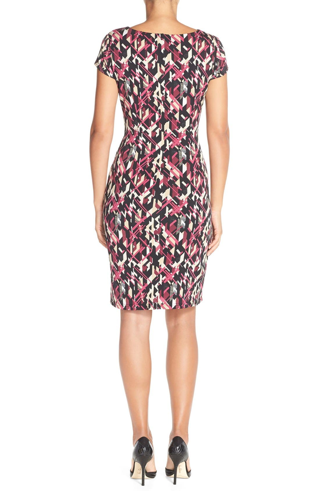 Alternate Image 2  - Ellen Tracy Print Jersey Faux Wrap Sheath Dress (Regular & Petite)
